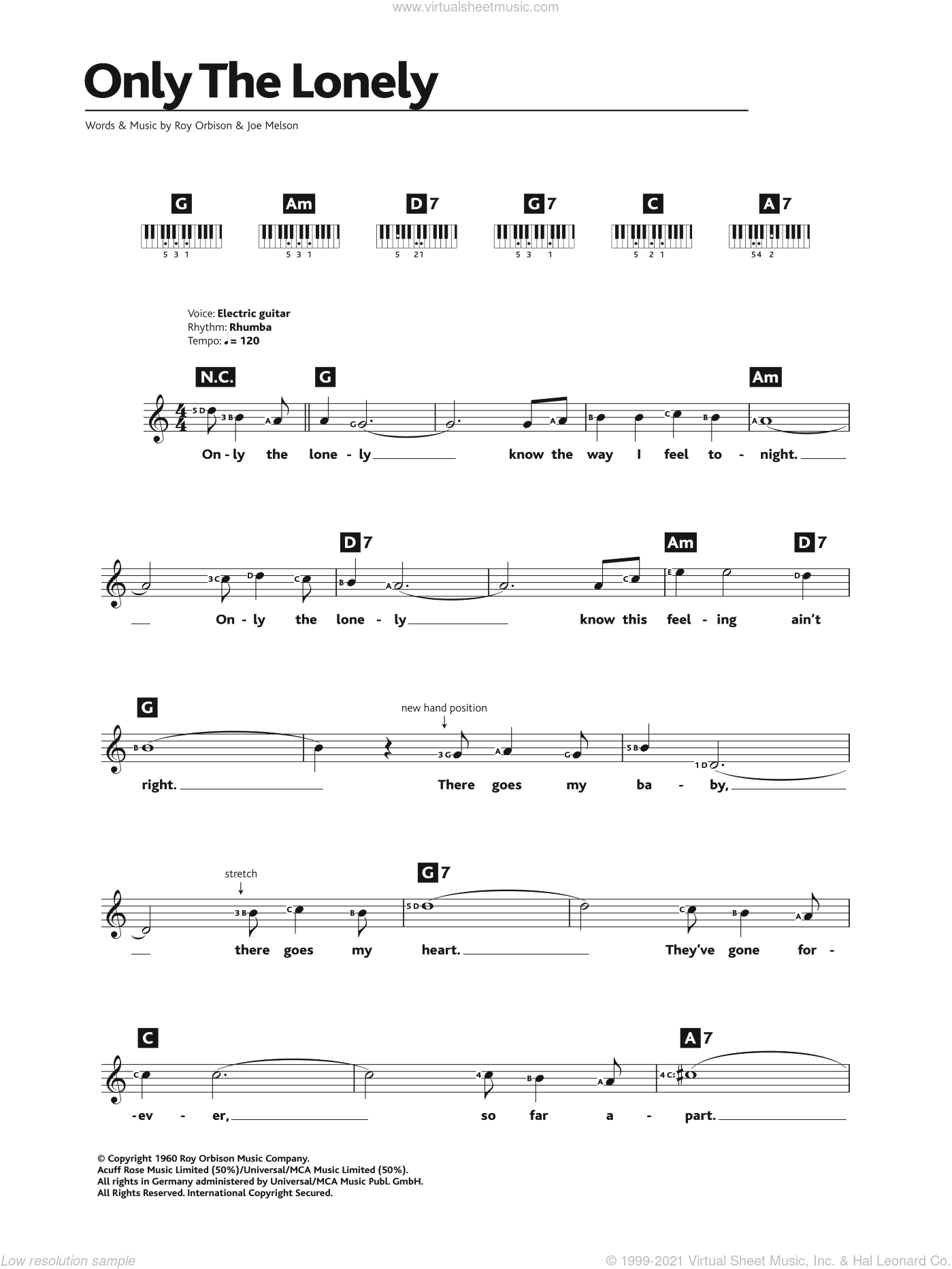 Only The Lonely sheet music for piano solo (chords, lyrics, melody) by Roy Orbison and Joe Melson, intermediate piano (chords, lyrics, melody)
