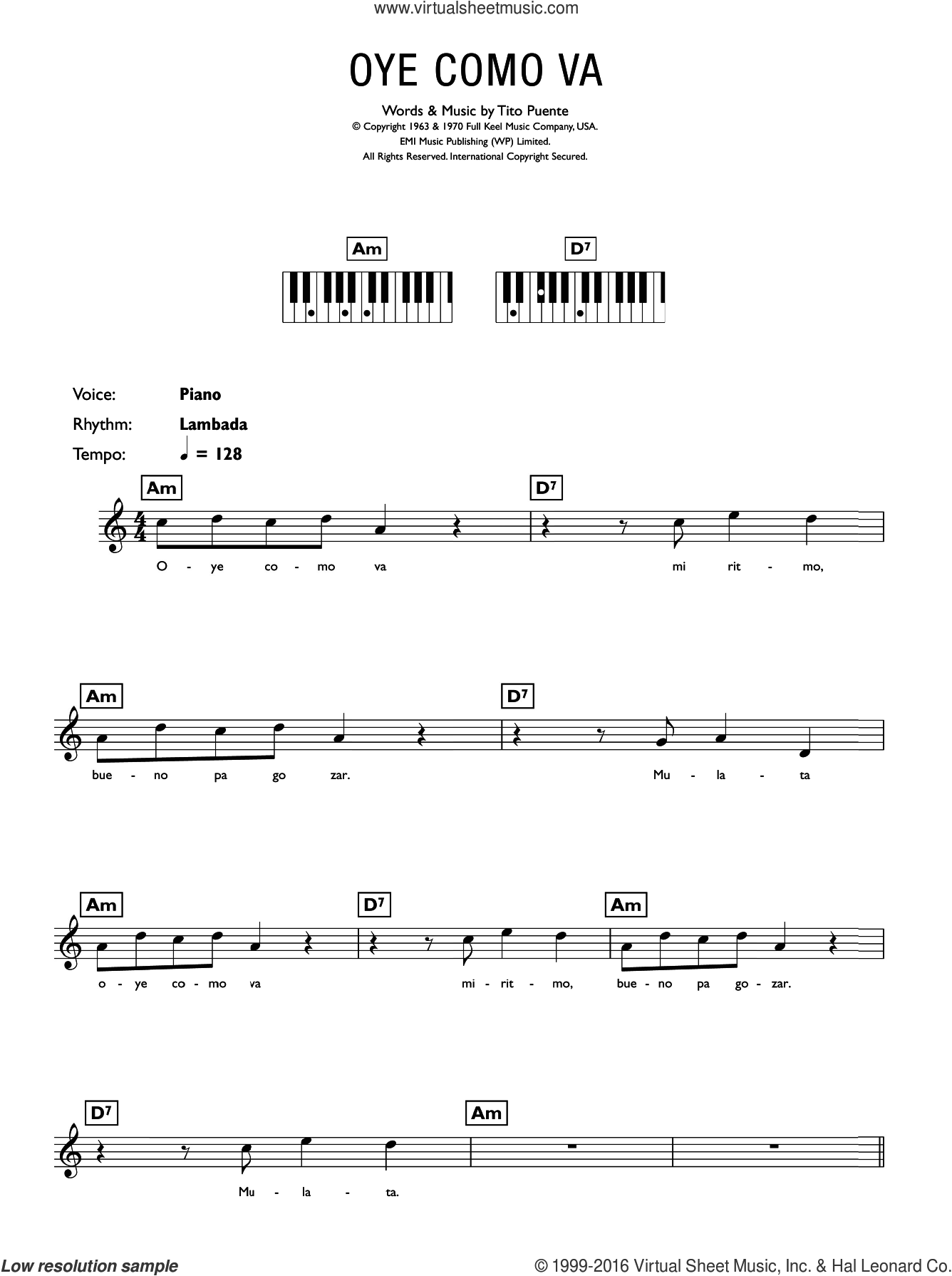 Oye Como Va sheet music for piano solo (chords, lyrics, melody) by Tito Puente. Score Image Preview.