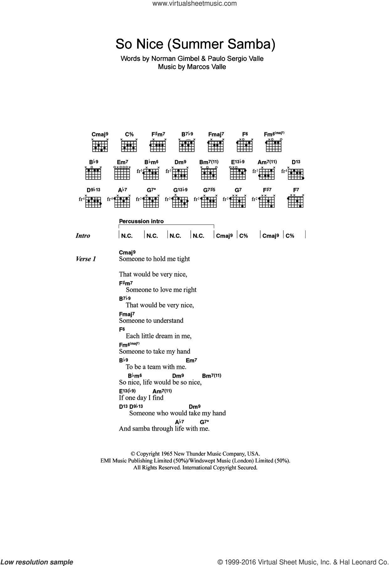 So Nice (Summer Samba) sheet music for guitar (chords) by Astrud Gilberto, Bebel Gilberto, Marcos Valle, Norman Gimbel and Paulo Sergio Valle, intermediate skill level