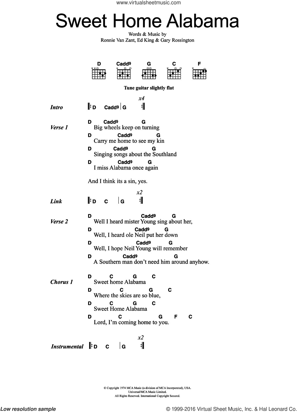 Sweet Home Alabama sheet music for guitar (chords) by Ronnie Van Zant, Lynyrd Skynyrd, Edward King and Gary Rossington. Score Image Preview.