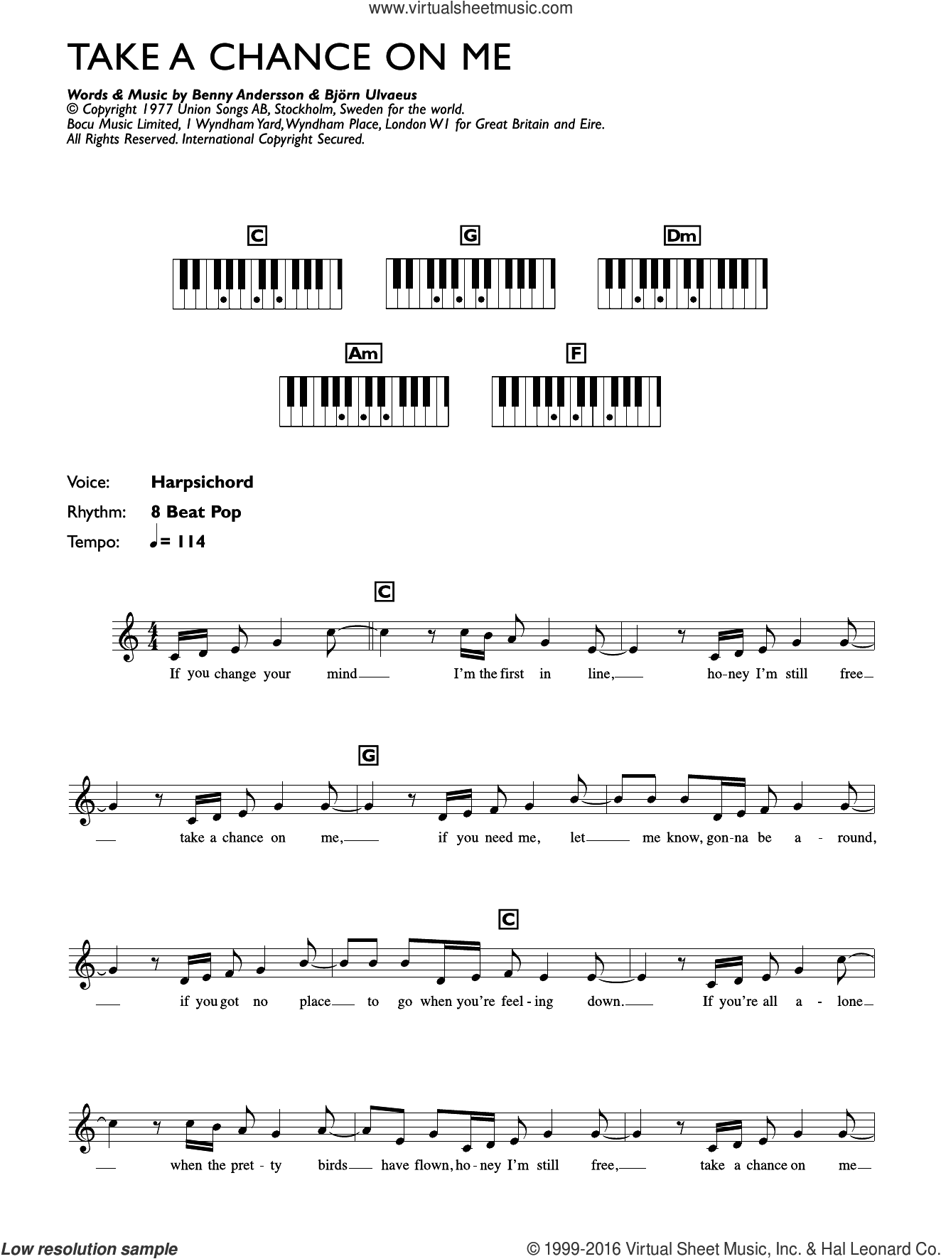 Take A Chance On Me sheet music for piano solo (chords, lyrics, melody) by ABBA and Benny Andersson, intermediate piano (chords, lyrics, melody). Score Image Preview.