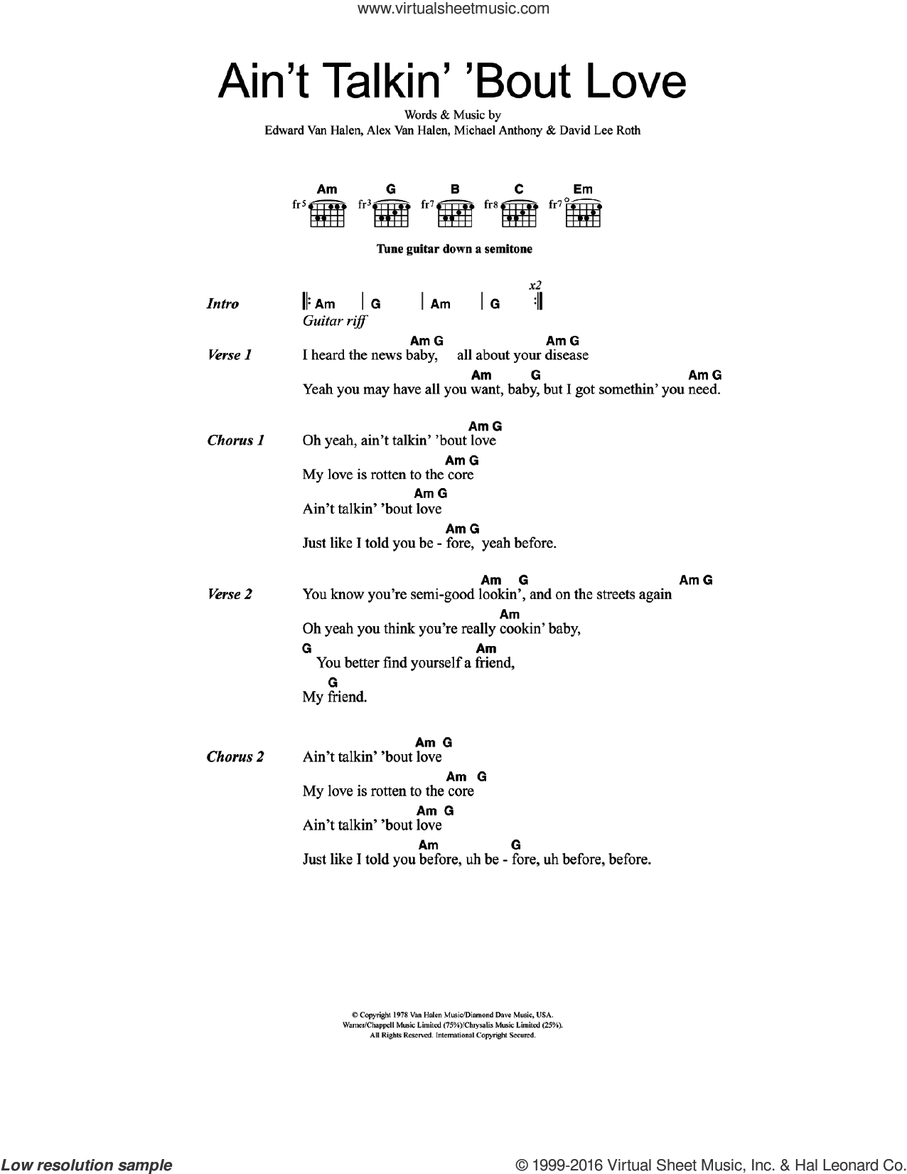 Ain't Talkin' 'Bout Love sheet music for guitar (chords) by Edward Van Halen, Alex Van Halen, David Lee Roth and Michael Anthony, intermediate skill level