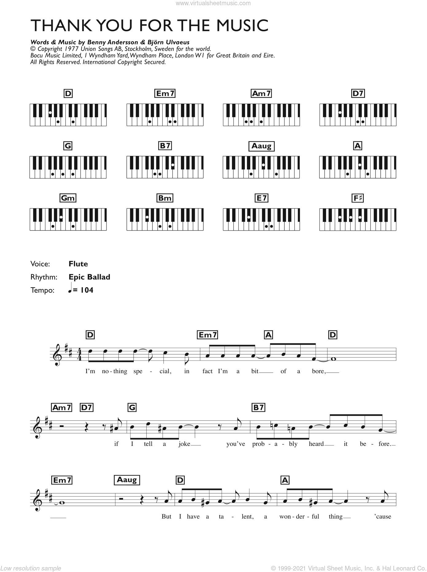 Thank You For The Music sheet music for piano solo (chords, lyrics, melody) by ABBA, Benny Andersson and Bjorn Ulvaeus. Score Image Preview.
