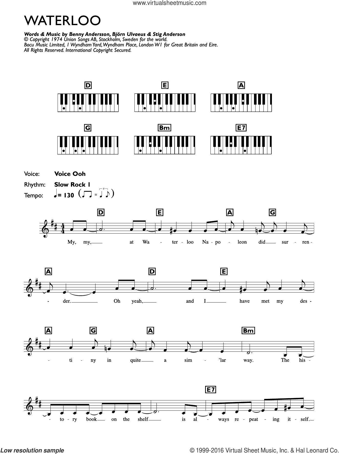 Waterloo sheet music for piano solo (chords, lyrics, melody) by Stig Anderson, ABBA, Benny Andersson and Bjorn Ulvaeus. Score Image Preview.