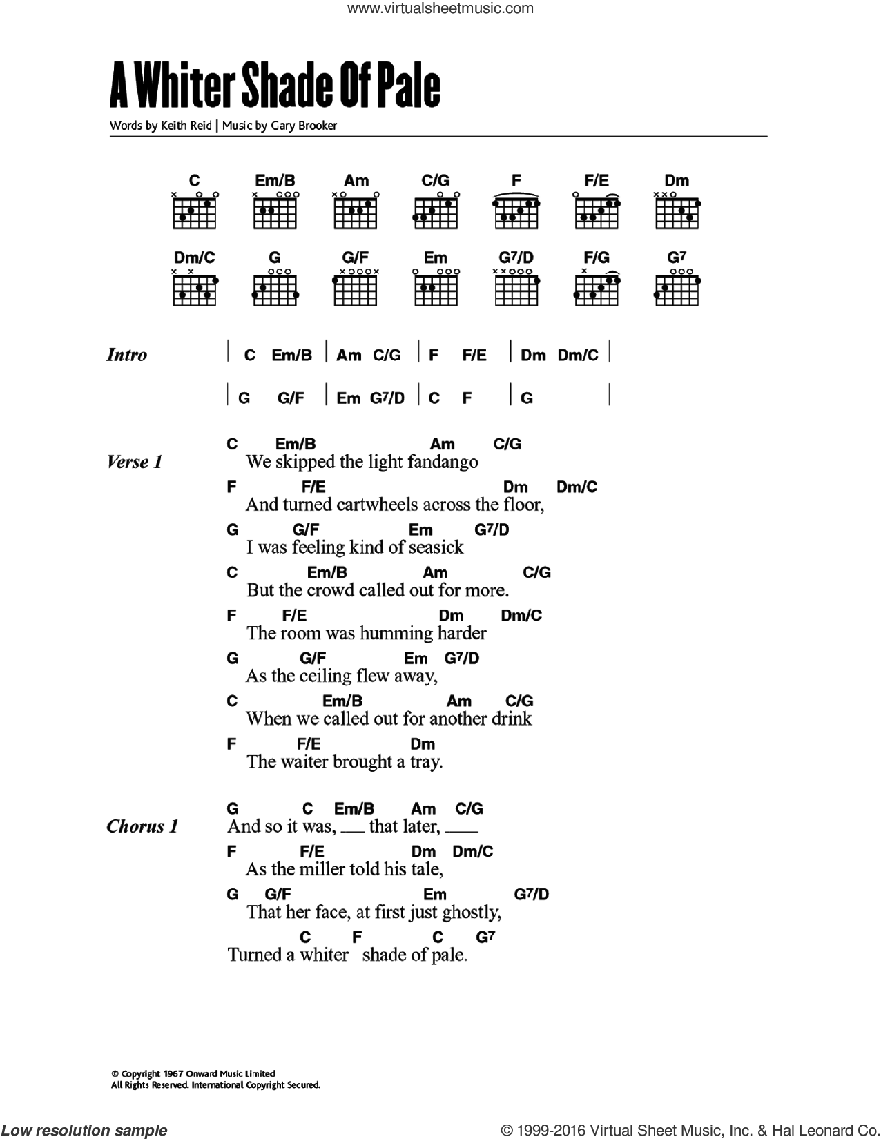 A Whiter Shade Of Pale sheet music for guitar (chords) by Matthew Fisher, Annie Lennox, Procol Harum, Gary Brooker and Keith Reid. Score Image Preview.