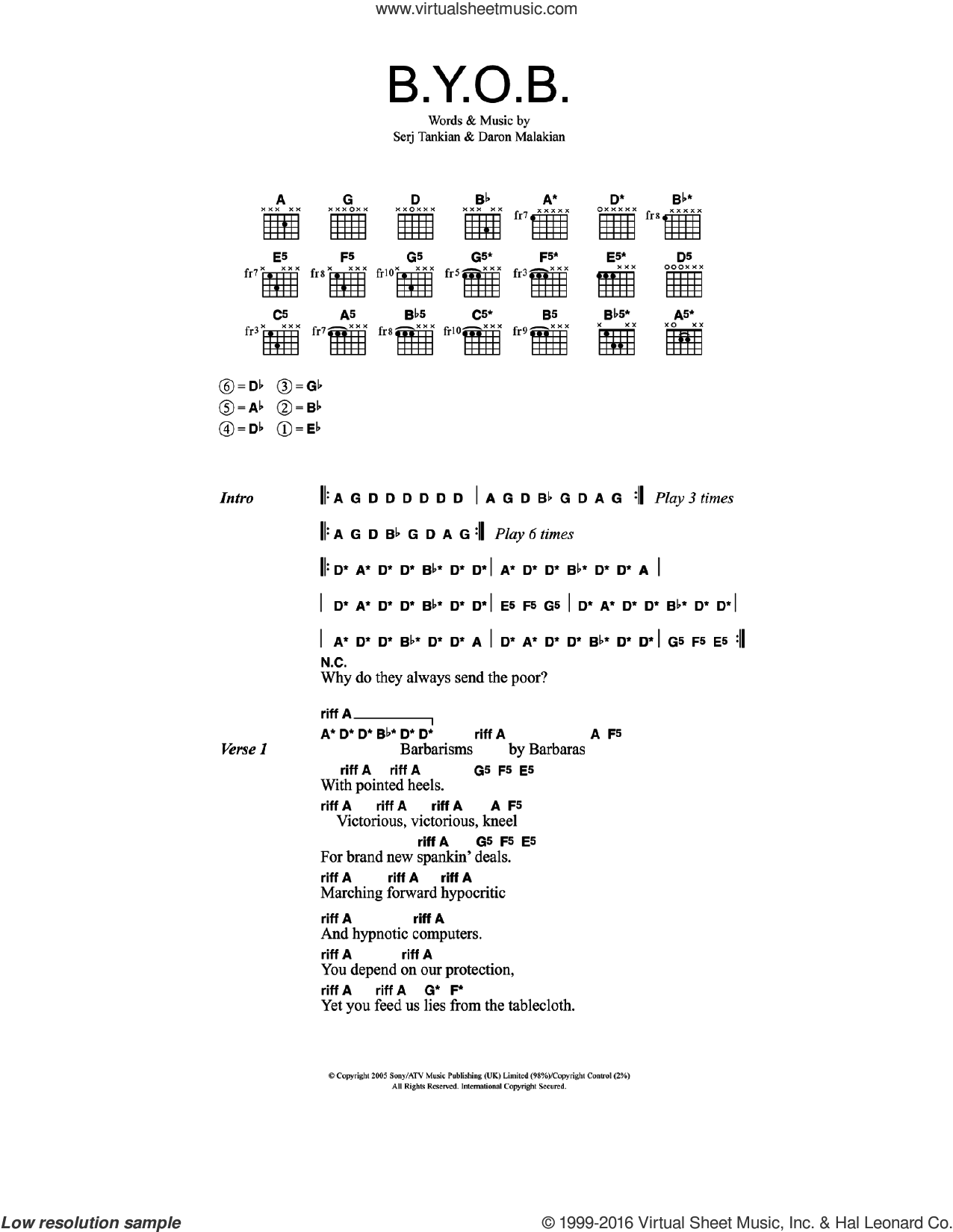 B.Y.O.B. sheet music for guitar (chords) by Serj Tankian and System Of A Down. Score Image Preview.