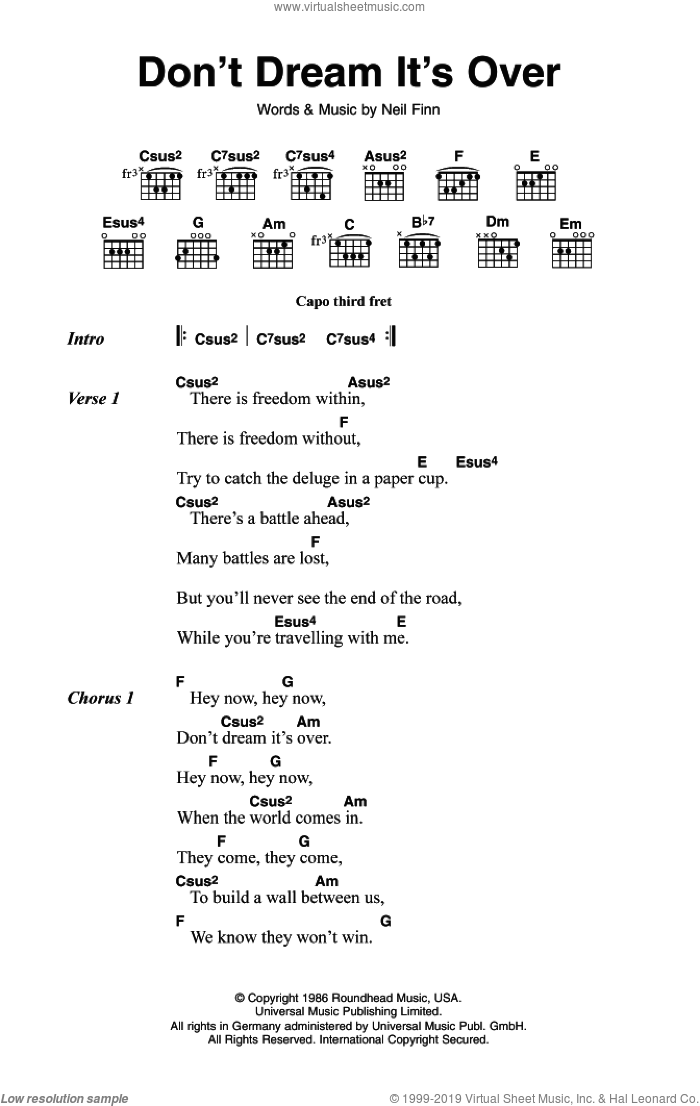 Don't Dream It's Over sheet music for guitar (chords) by Crowded House and Neil Finn, intermediate skill level