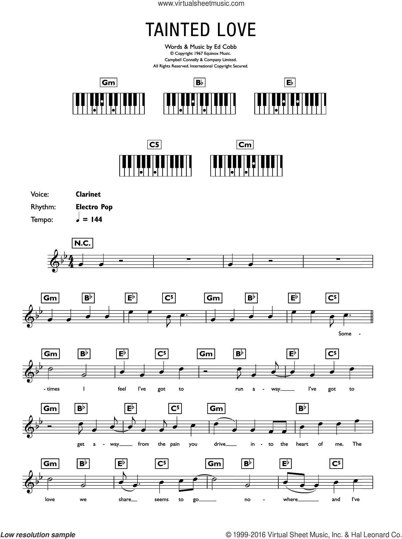 Tainted Love sheet music for piano solo (chords, lyrics, melody) by Ed Cobb. Score Image Preview.