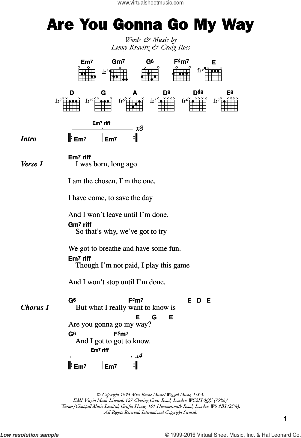 Are You Gonna Go My Way sheet music for guitar (chords) by Lenny Kravitz and Craig Ross, intermediate skill level