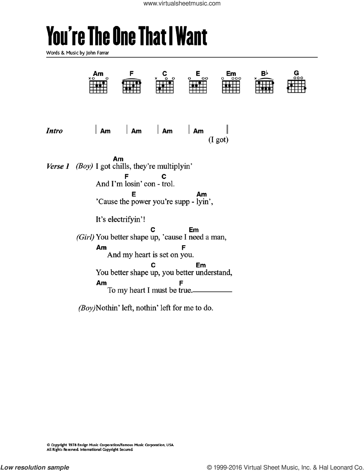 You're The One That I Want (from Grease) sheet music for guitar (chords) by John Travolta, Olivia Newton-John and John Farrar. Score Image Preview.