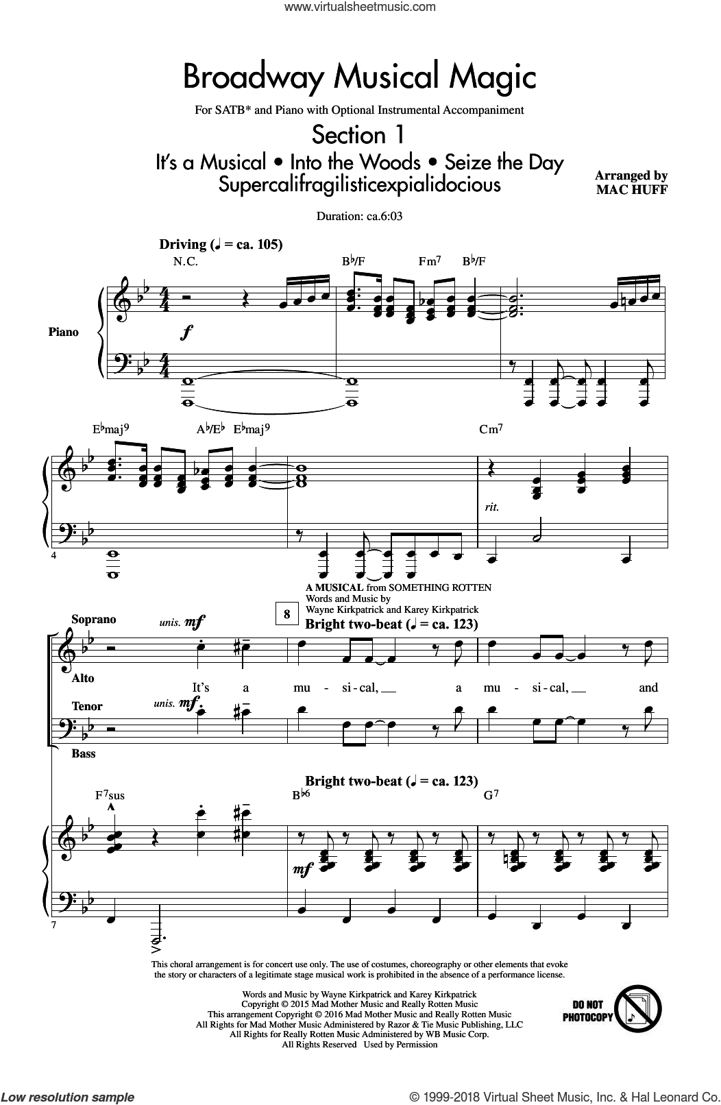 Broadway Musical Magic sheet music for choir (SATB) by Jonathan Larson and Mac Huff. Score Image Preview.