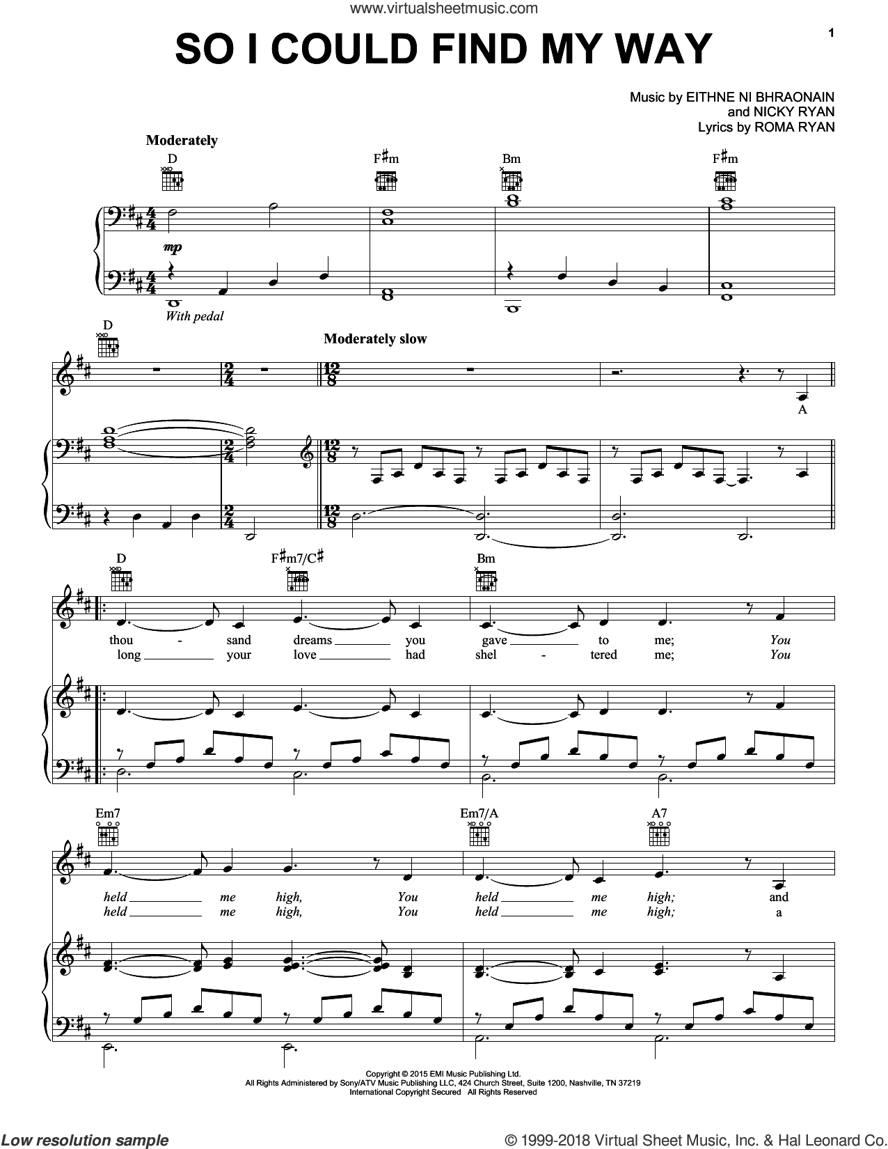 So I Could Find My Way sheet music for voice, piano or guitar by Enya, Eithne Ni Bhraonain, Nicky Ryan and Roma Ryan, intermediate skill level