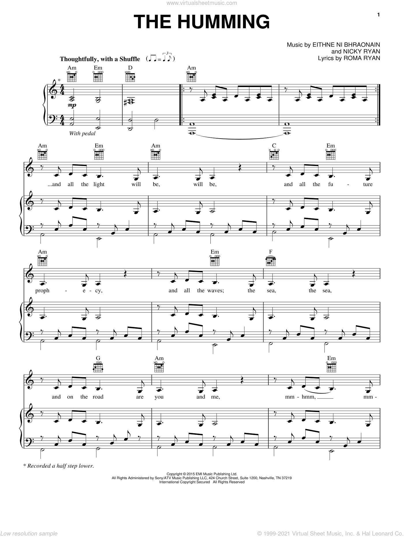 The Humming sheet music for voice, piano or guitar by Enya, intermediate voice, piano or guitar. Score Image Preview.