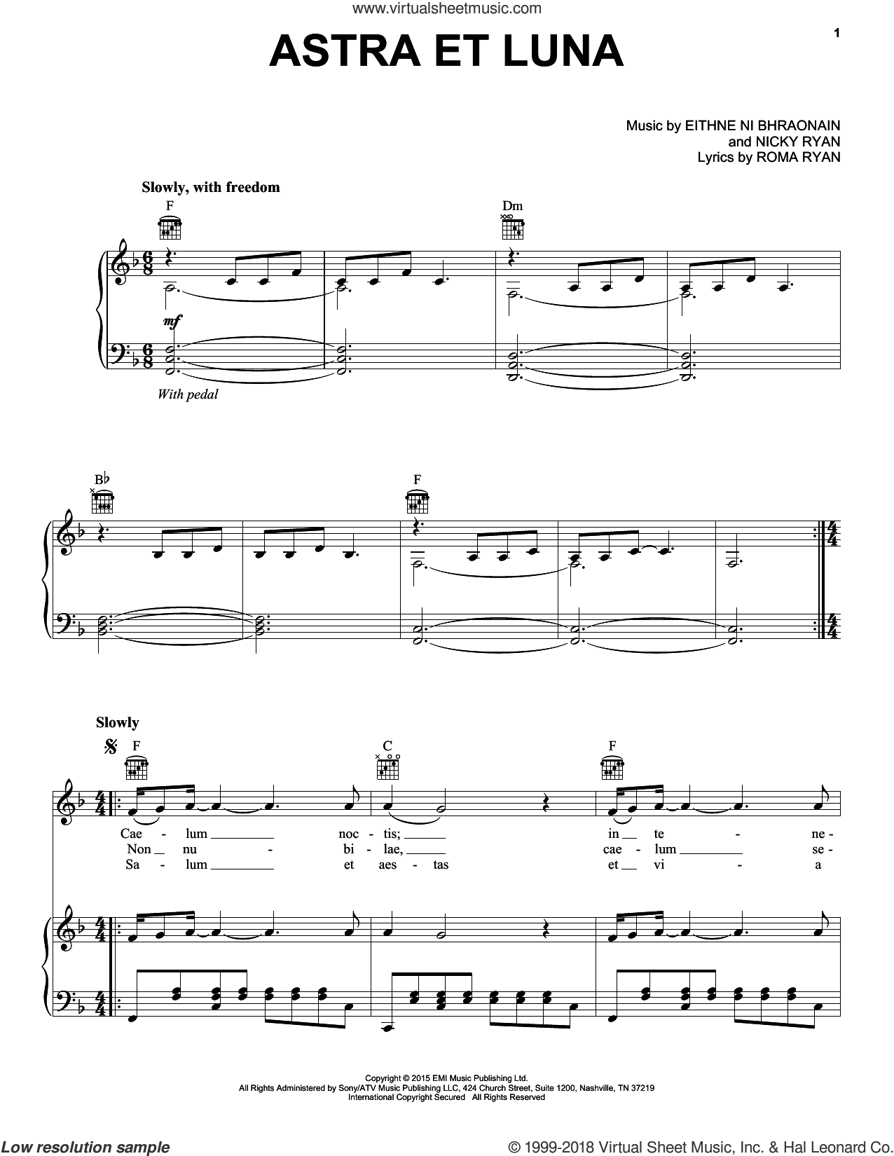 Astra Et Luna sheet music for voice, piano or guitar by Enya, Eithne Ni Bhraonain, Nicky Ryan and Roma Ryan, intermediate skill level