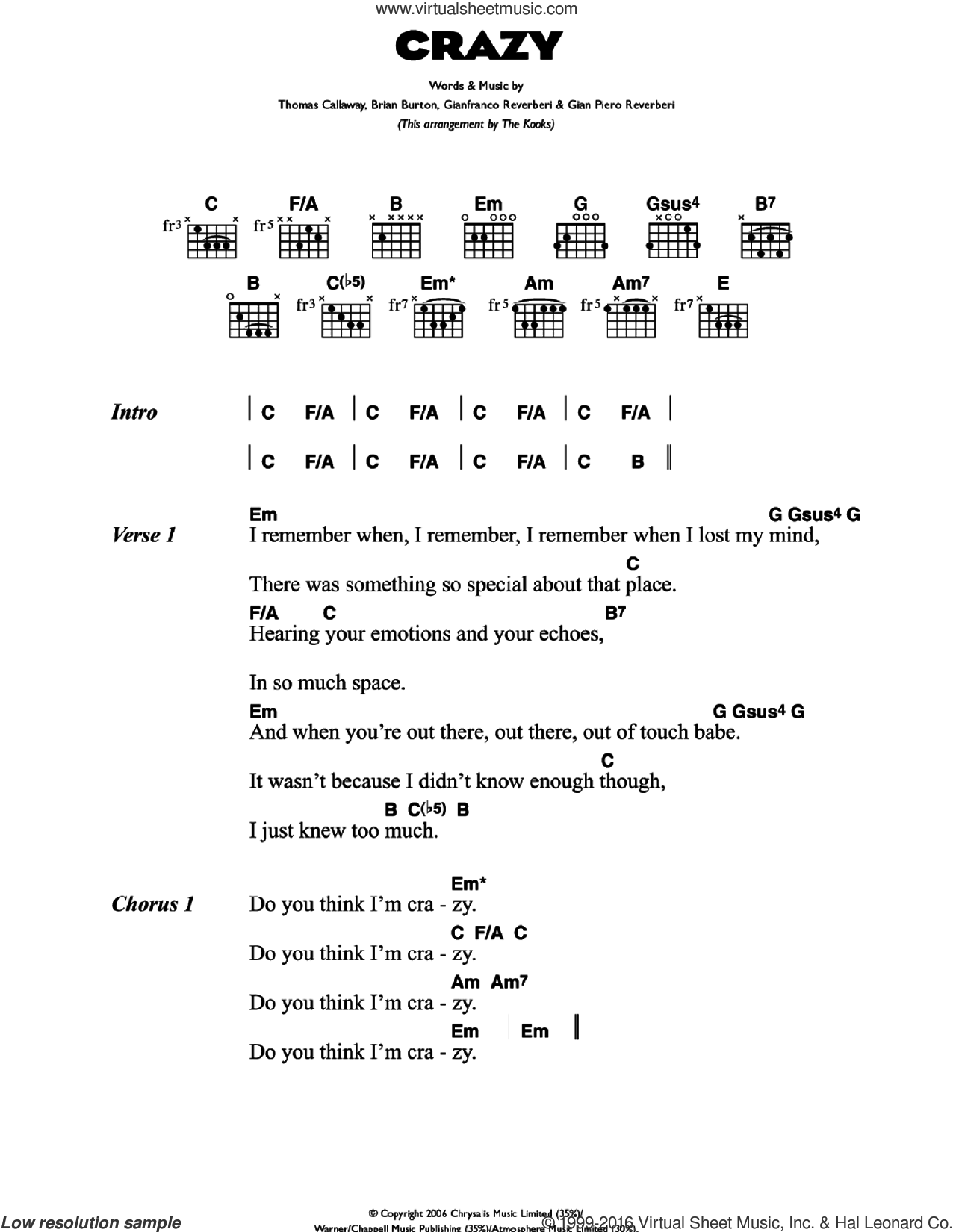 Crazy sheet music for guitar (chords) by Gnarls Barkley, The Kooks and Thomas Callaway, intermediate guitar (chords). Score Image Preview.