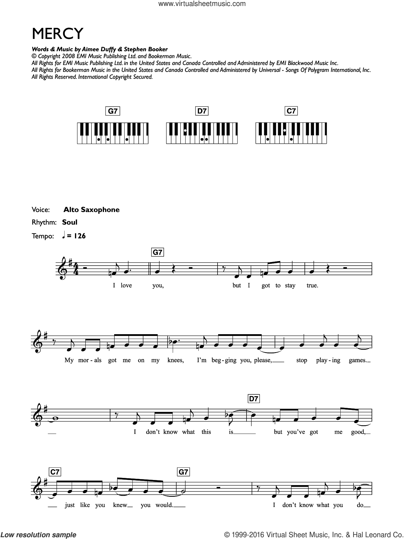 Mercy sheet music for piano solo (chords, lyrics, melody) by Duffy, Aimee Duffy and Steve Booker, intermediate piano (chords, lyrics, melody)