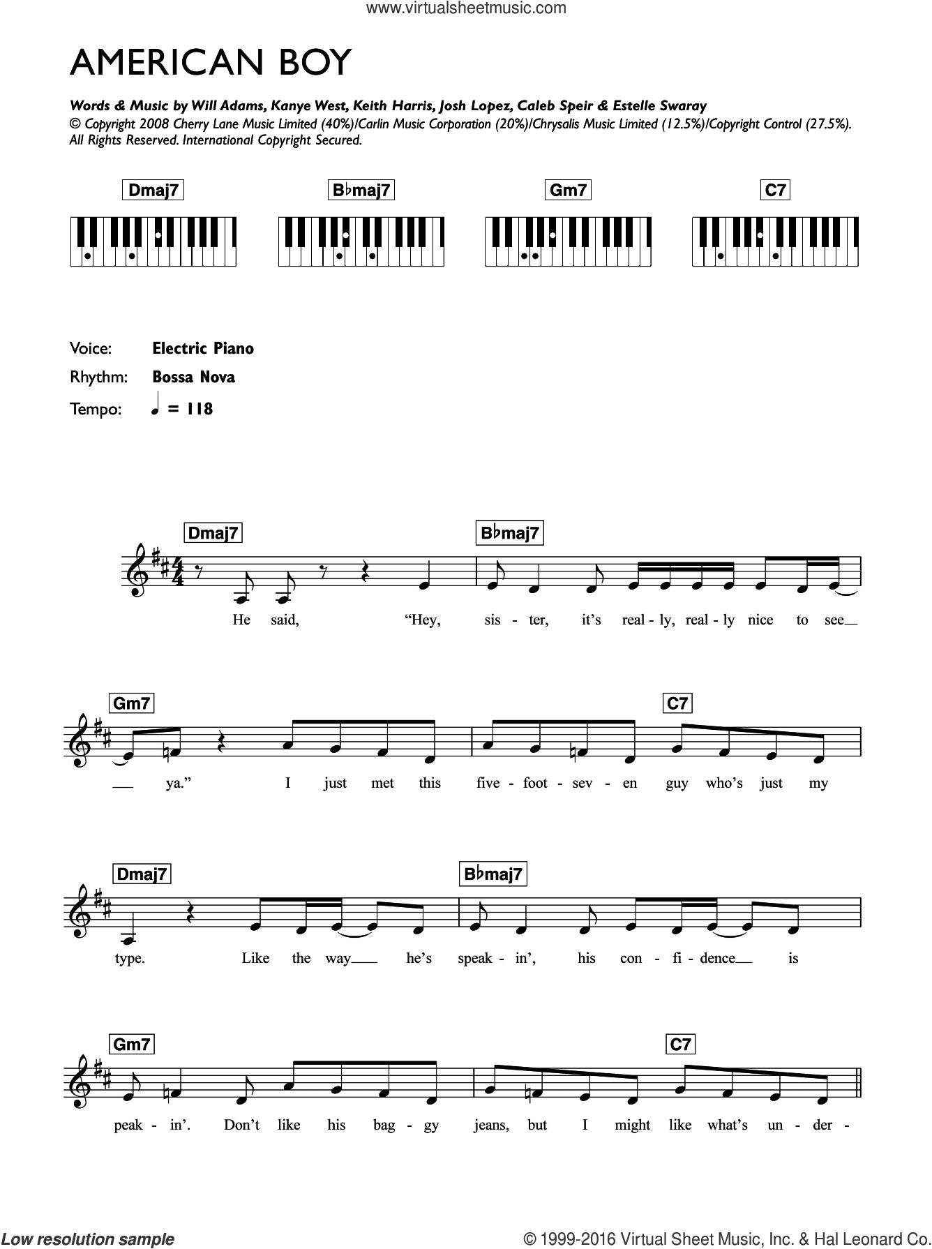 American Boy (featuring Kanye West) sheet music for piano solo (chords, lyrics, melody) by Will Adams, Caleb Speir and Kanye West. Score Image Preview.