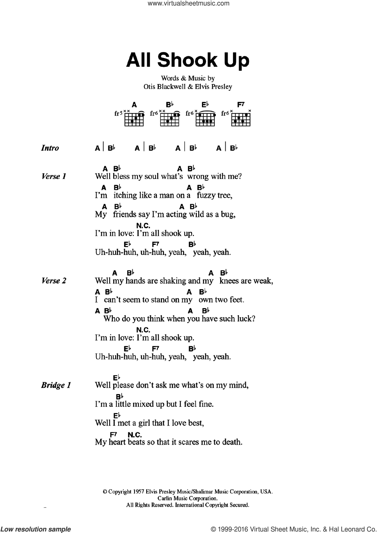 All Shook Up sheet music for guitar (chords) by Otis Blackwell