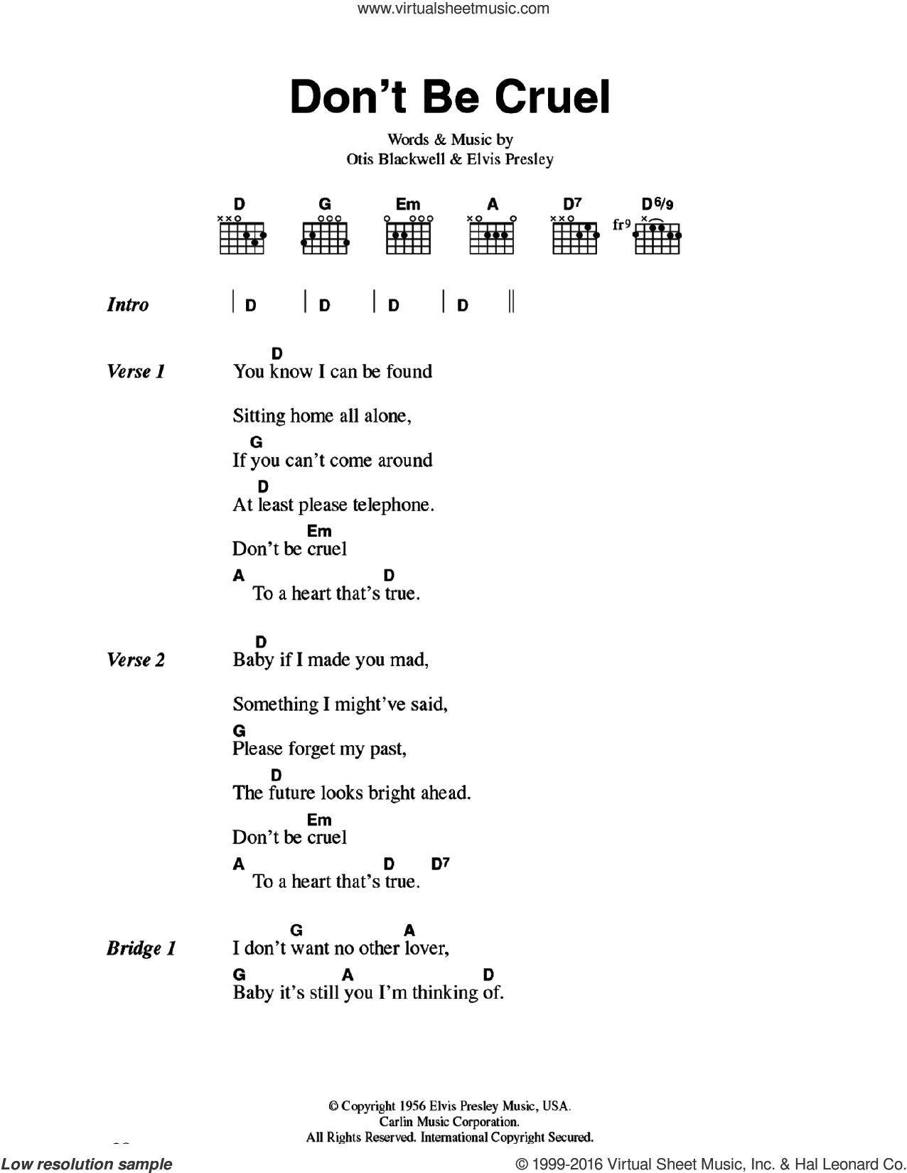 Presley Don T Be Cruel Sheet Music For Guitar Chords V2