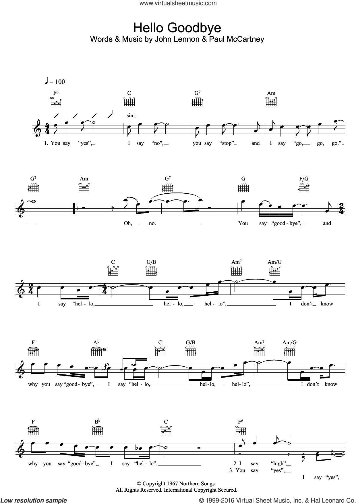 Hello Goodbye sheet music for voice and other instruments (fake book) by The Beatles, John Lennon and Paul McCartney, intermediate. Score Image Preview.