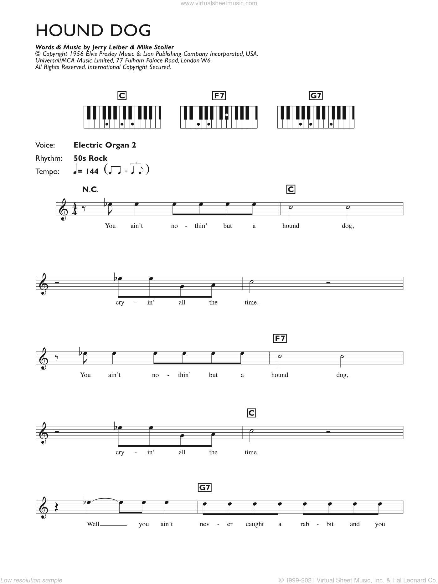 Hound Dog sheet music for piano solo (chords, lyrics, melody) by Elvis Presley, Jerry Leiber and Mike Stoller, intermediate piano (chords, lyrics, melody)