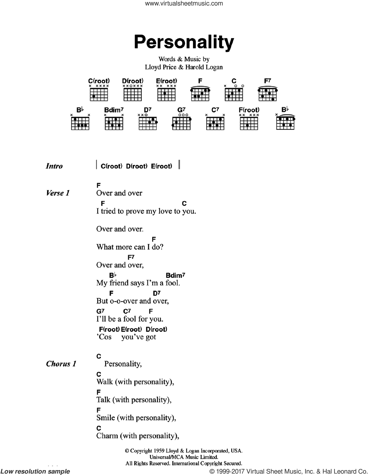 (You've Got) Personality sheet music for guitar (chords) by Lloyd Price and Harold Logan, intermediate skill level