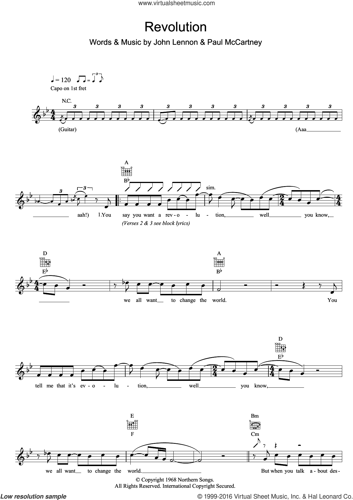 Revolution sheet music for voice and other instruments (fake book) by Paul McCartney, The Beatles and John Lennon. Score Image Preview.