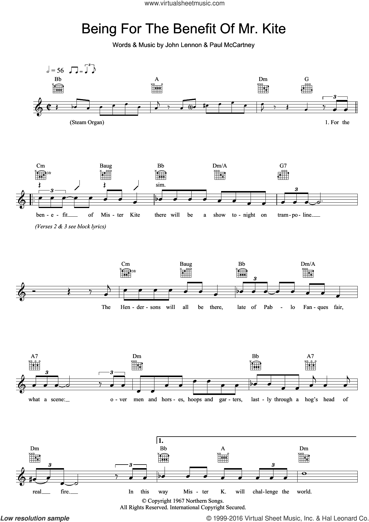Being For The Benefit Of Mr. Kite sheet music for voice and other instruments (fake book) by The Beatles, John Lennon and Paul McCartney, intermediate. Score Image Preview.