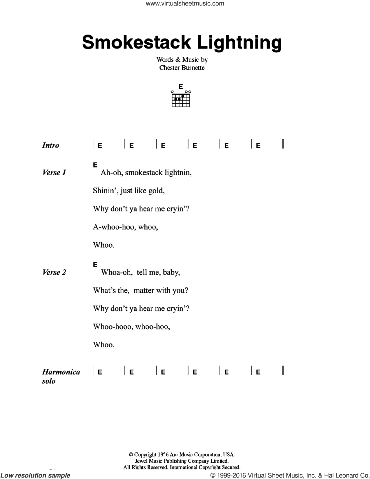 Wolf Smokestack Lightning Sheet Music For Guitar Chords Pdf