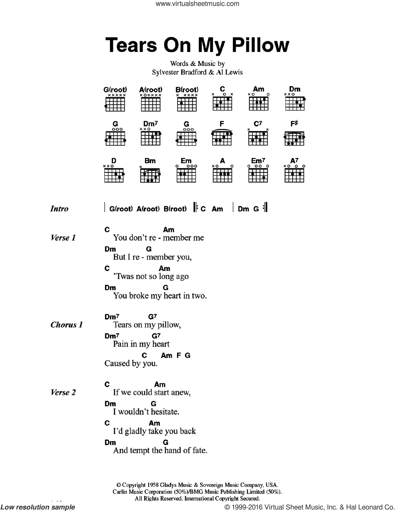 Tears On My Pillow sheet music for guitar (chords) by Little Anthony & The Imperials, Al Lewis and Sylvester Bradford, intermediate skill level