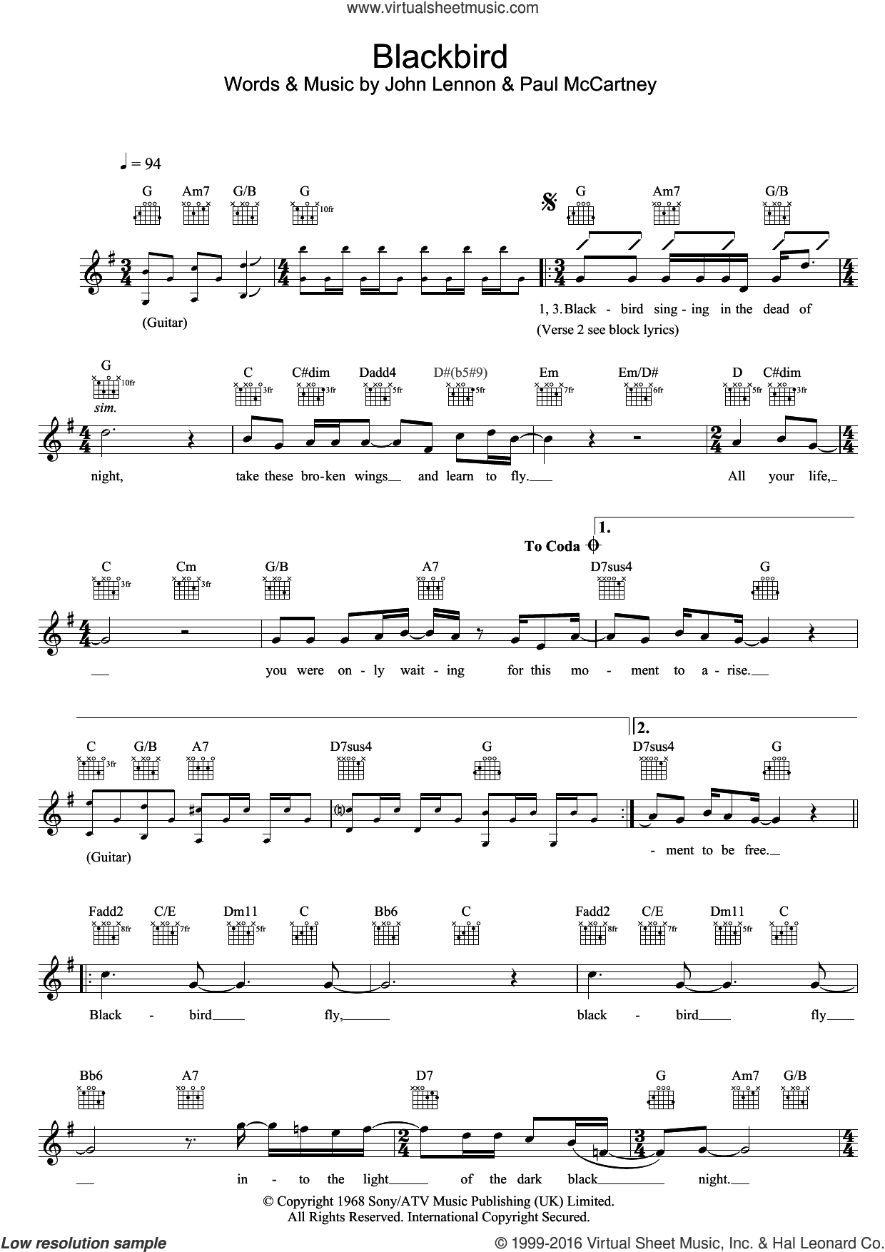 Blackbird sheet music for voice and other instruments (fake book) by The Beatles, John Lennon and Paul McCartney. Score Image Preview.