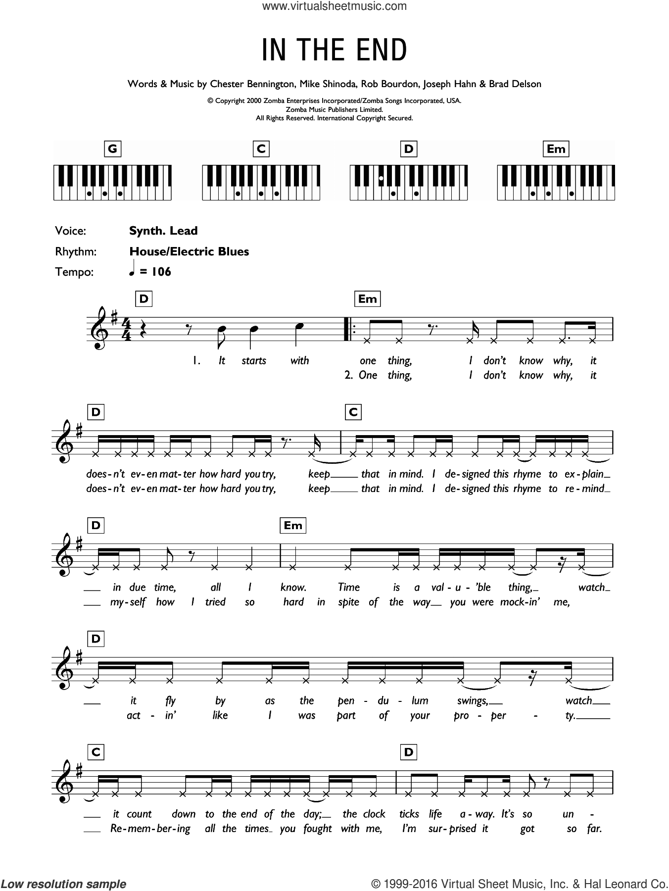 In The End sheet music for piano solo (chords, lyrics, melody) by Linkin Park. Score Image Preview.