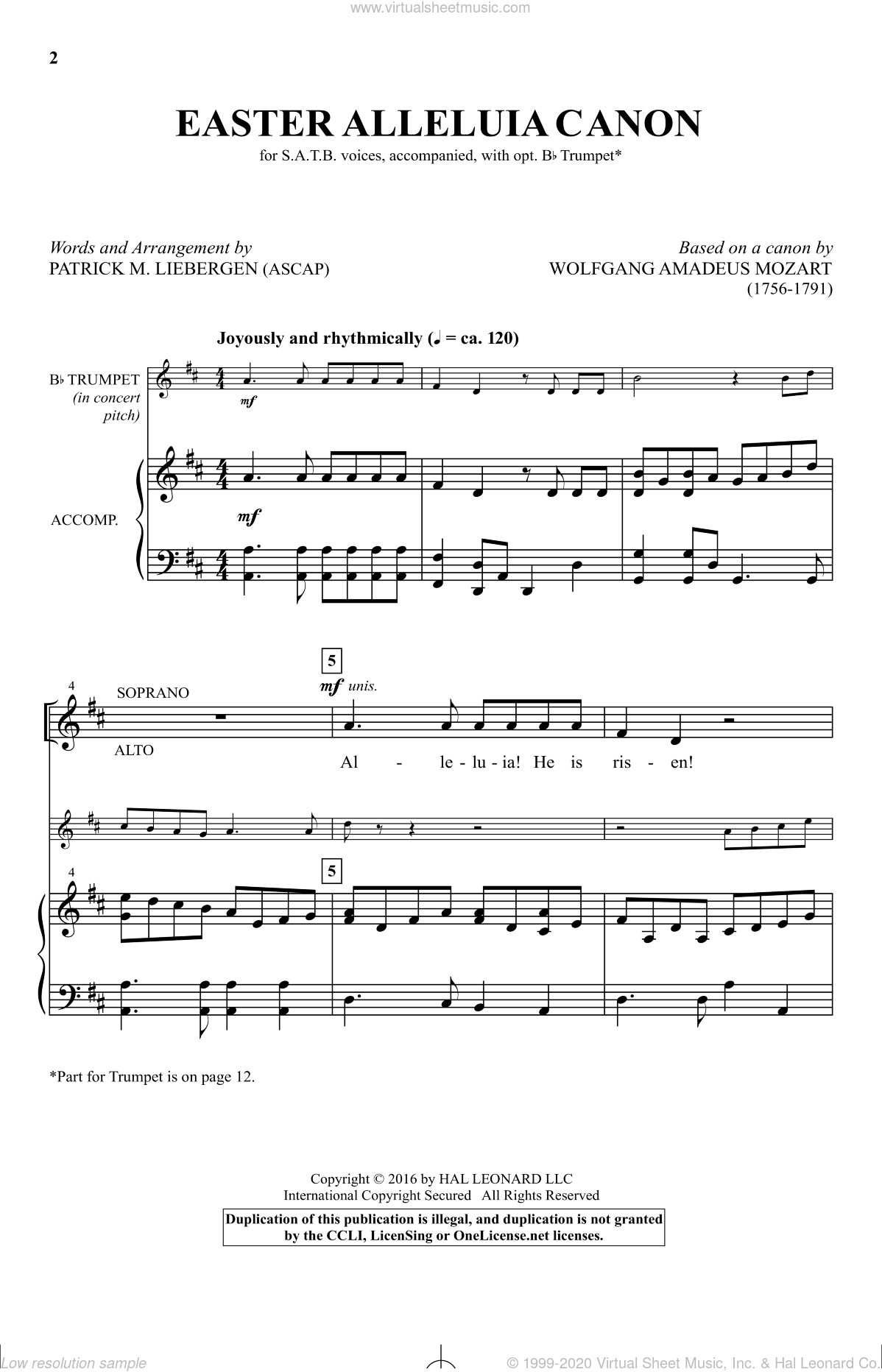 Easter Alleluia Canon sheet music for choir and piano by Wolfgang Amadeus Mozart and Patrick Liebergen. Score Image Preview.