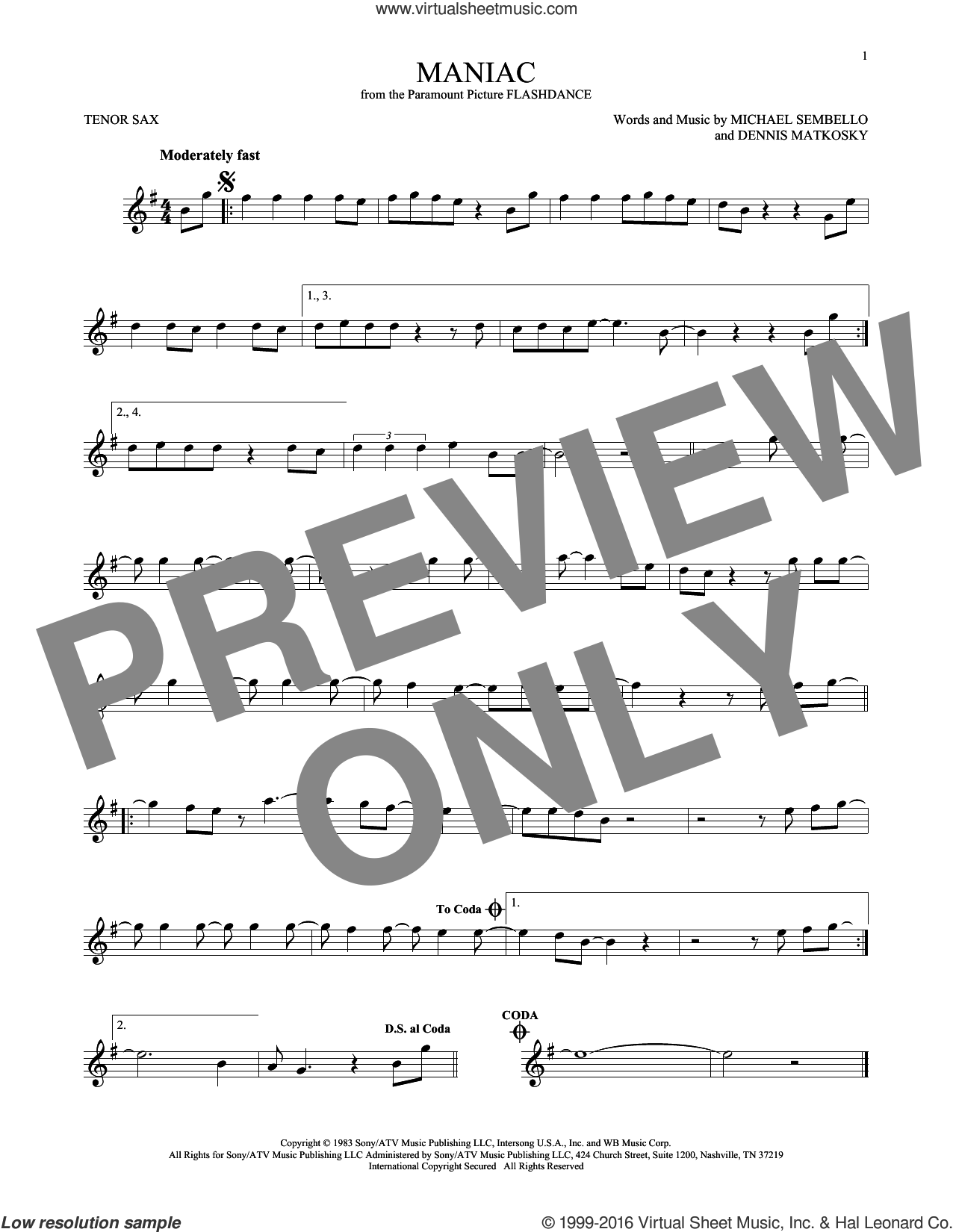 Maniac sheet music for tenor saxophone solo by Michael Sembello and Dennis Matkosky, intermediate skill level