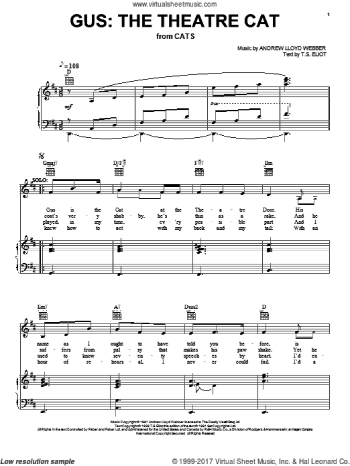 Broadway Selections from Cats (complete set of parts) sheet music for voice, piano or guitar by Andrew Lloyd Webber, Barbra Streisand, Cats (Musical), T.S. Eliot and Trevor Nunn, intermediate skill level