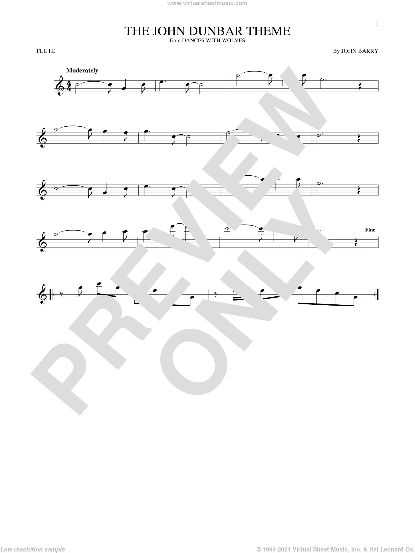 The John Dunbar Theme sheet music for flute solo by John Barry. Score Image Preview.