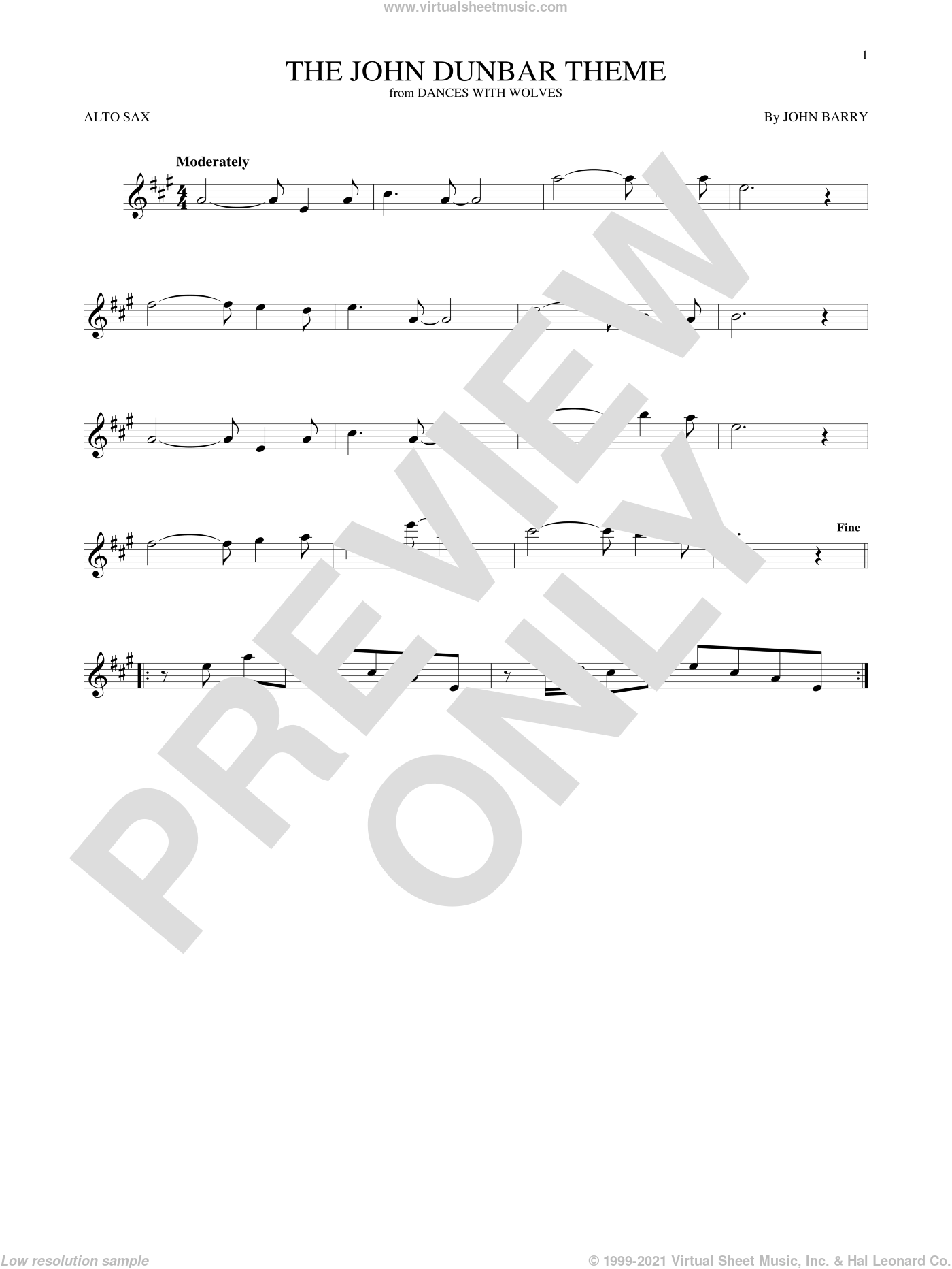 The John Dunbar Theme sheet music for alto saxophone solo by John Barry, intermediate skill level