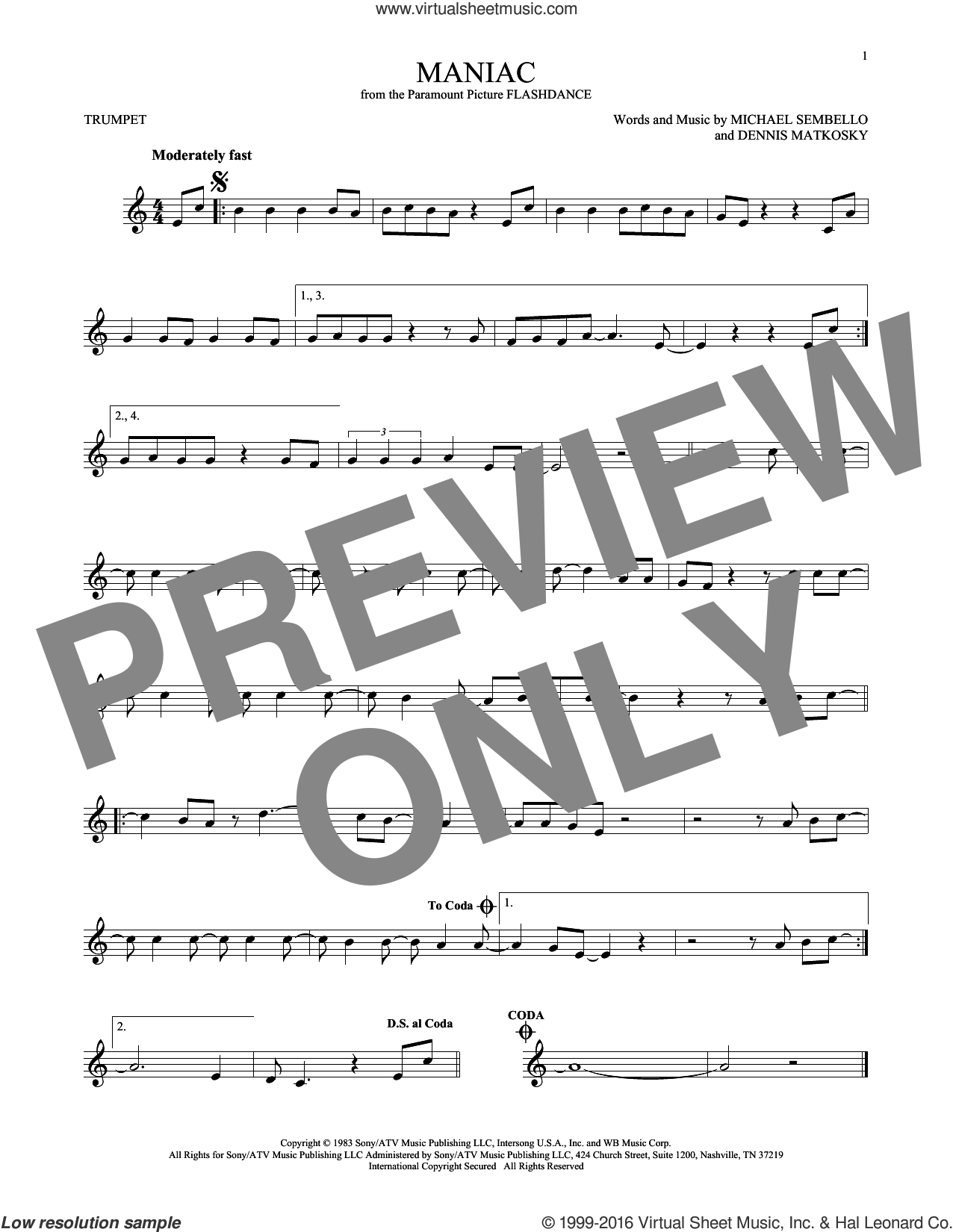 Maniac sheet music for trumpet solo by Michael Sembello and Dennis Matkosky, intermediate trumpet. Score Image Preview.