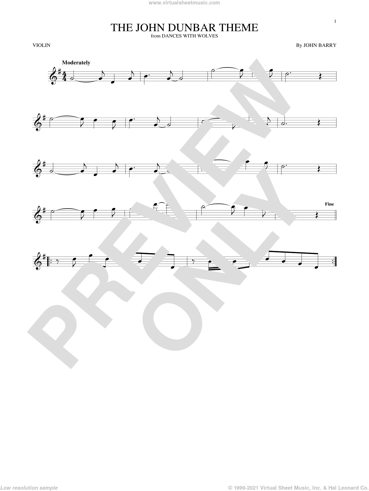 The John Dunbar Theme sheet music for violin solo by John Barry, intermediate skill level