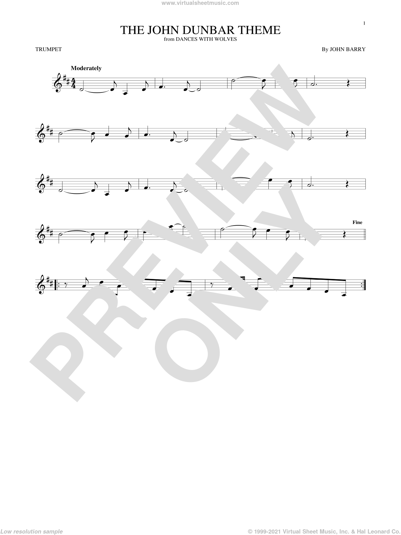 The John Dunbar Theme sheet music for trumpet solo by John Barry. Score Image Preview.