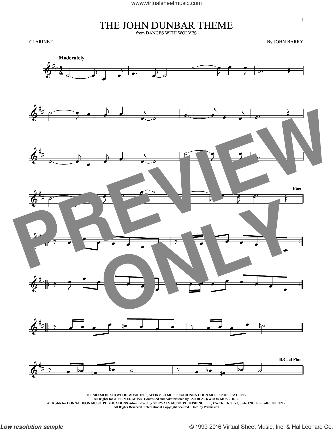 The John Dunbar Theme sheet music for clarinet solo by John Barry, intermediate