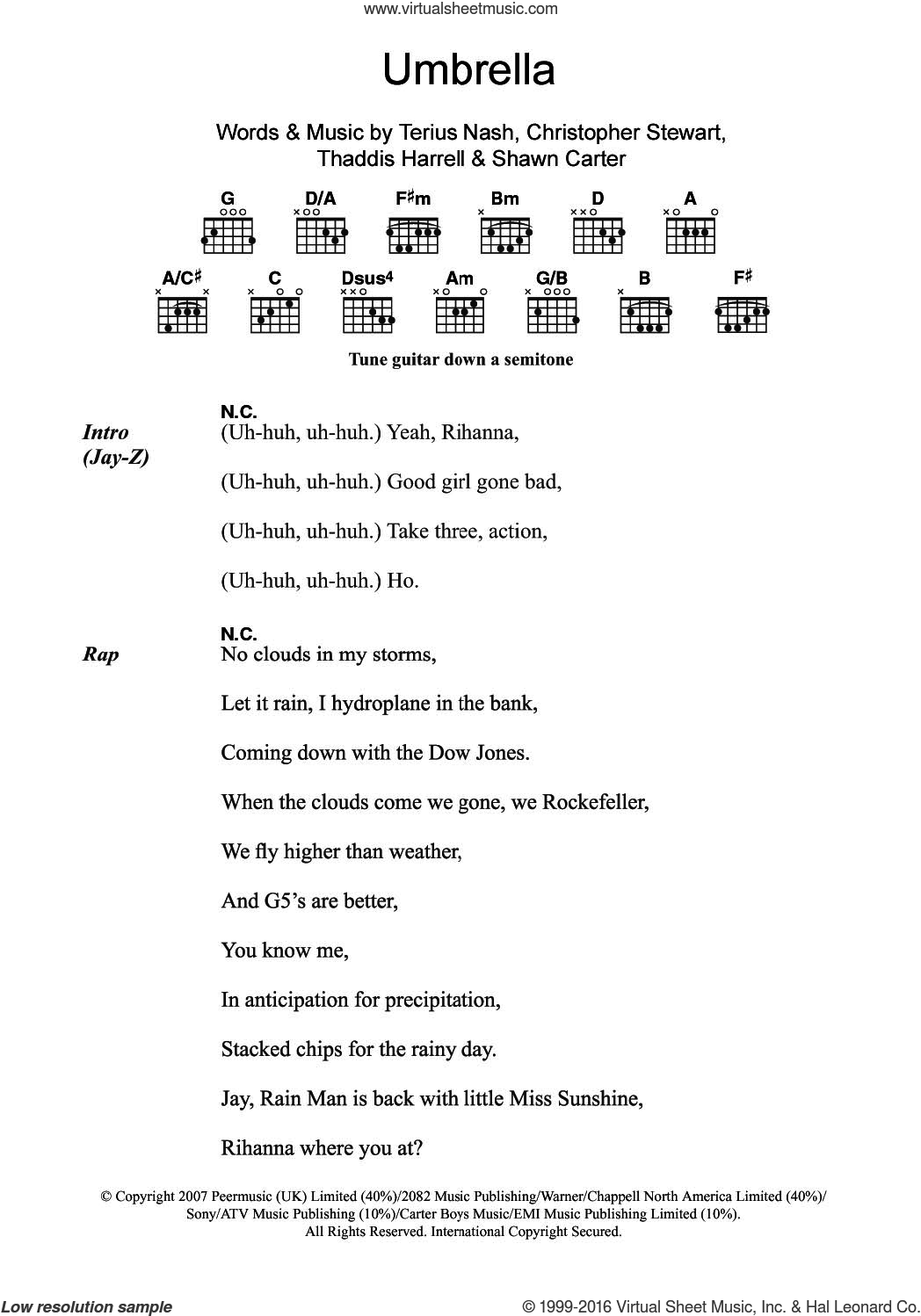 Umbrella (featuring Jay-Z) sheet music for guitar (chords) by Rihanna, Jay-Z, Christopher Stewart, Shawn Carter, Terius Nash and Thaddis Harrell, intermediate. Score Image Preview.