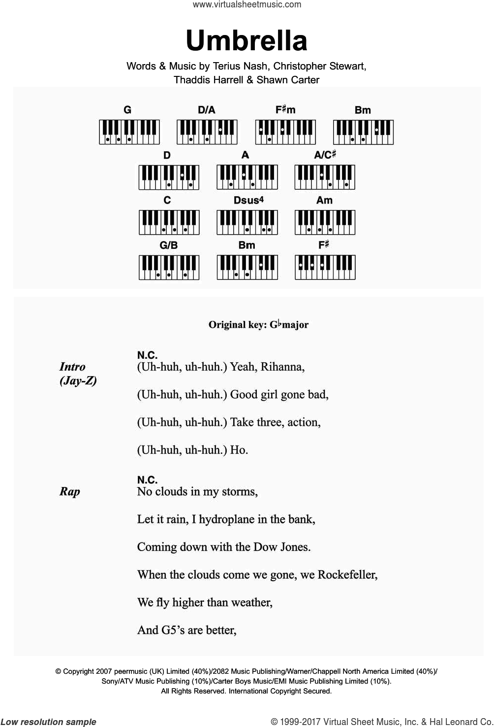 Umbrella (featuring Jay-Z) sheet music for piano solo (chords, lyrics, melody) by Rihanna, Jay-Z, Christopher Stewart, Shawn Carter, Terius Nash and Thaddis Harrell, intermediate piano (chords, lyrics, melody)