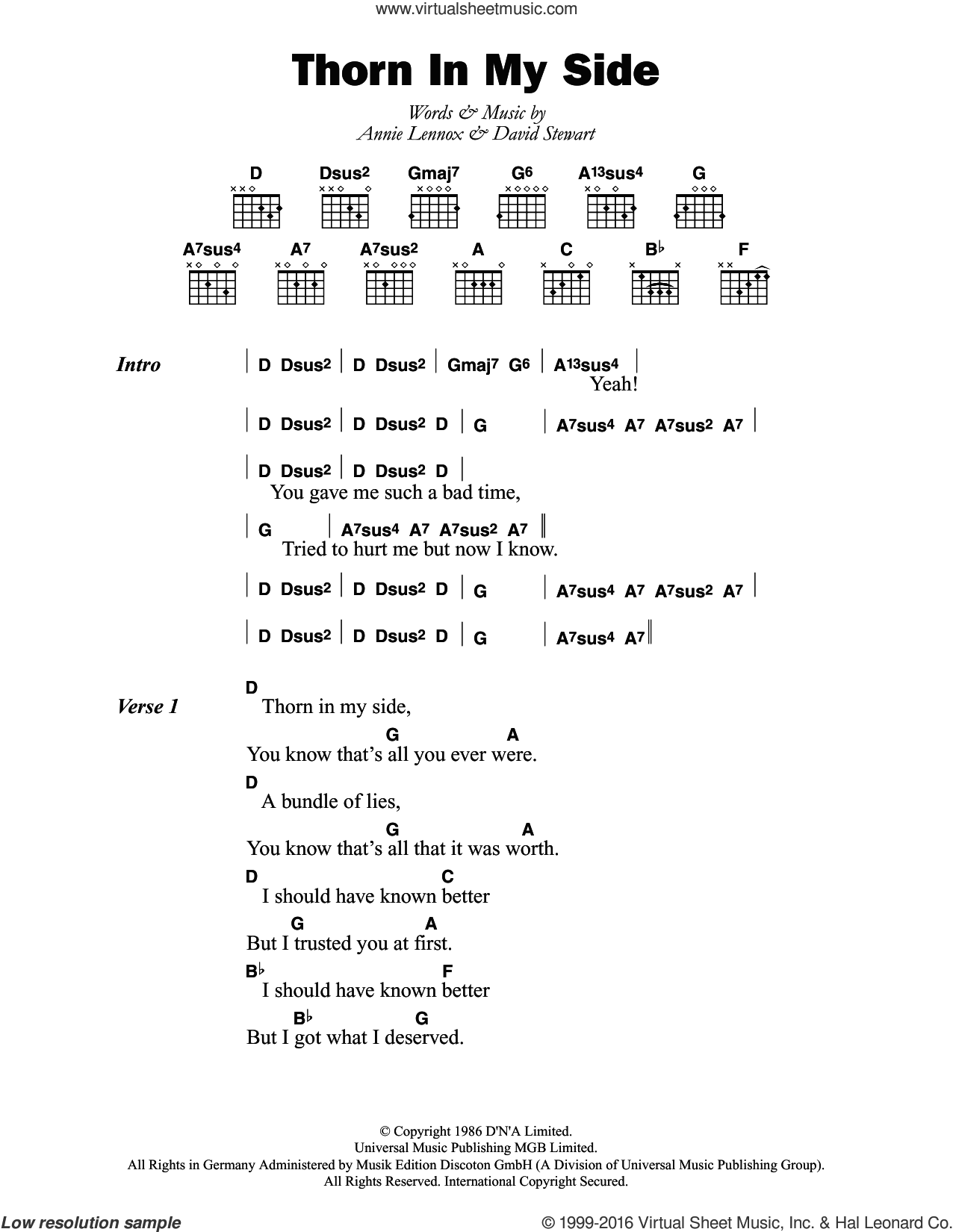 Thorn In My Side sheet music for guitar (chords) by Eurythmics, Annie Lennox and Dave Stewart, intermediate skill level