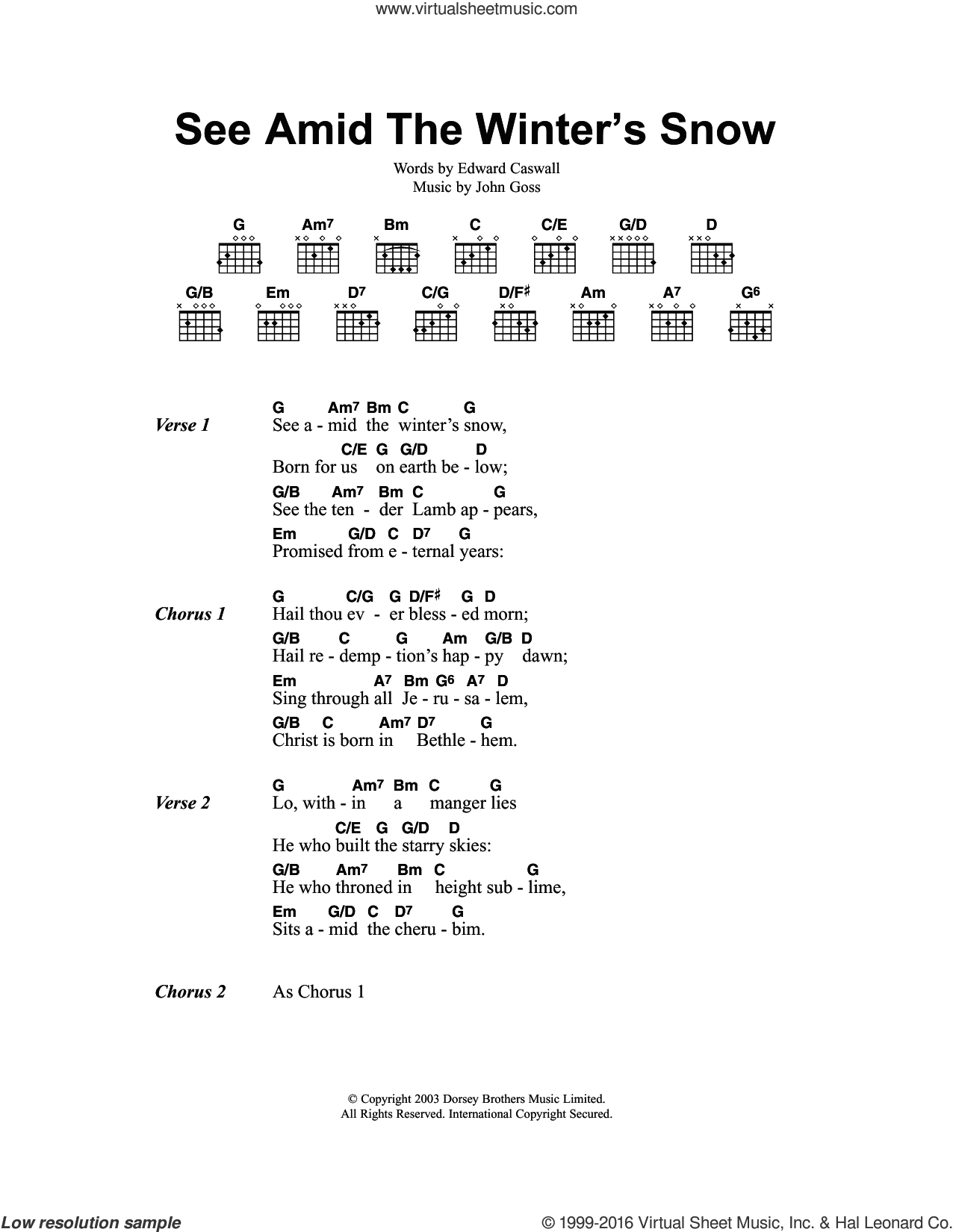 See Amid The Winter's Snow sheet music for guitar (chords) by Edward Caswall, Miscellaneous and John Goss, intermediate skill level