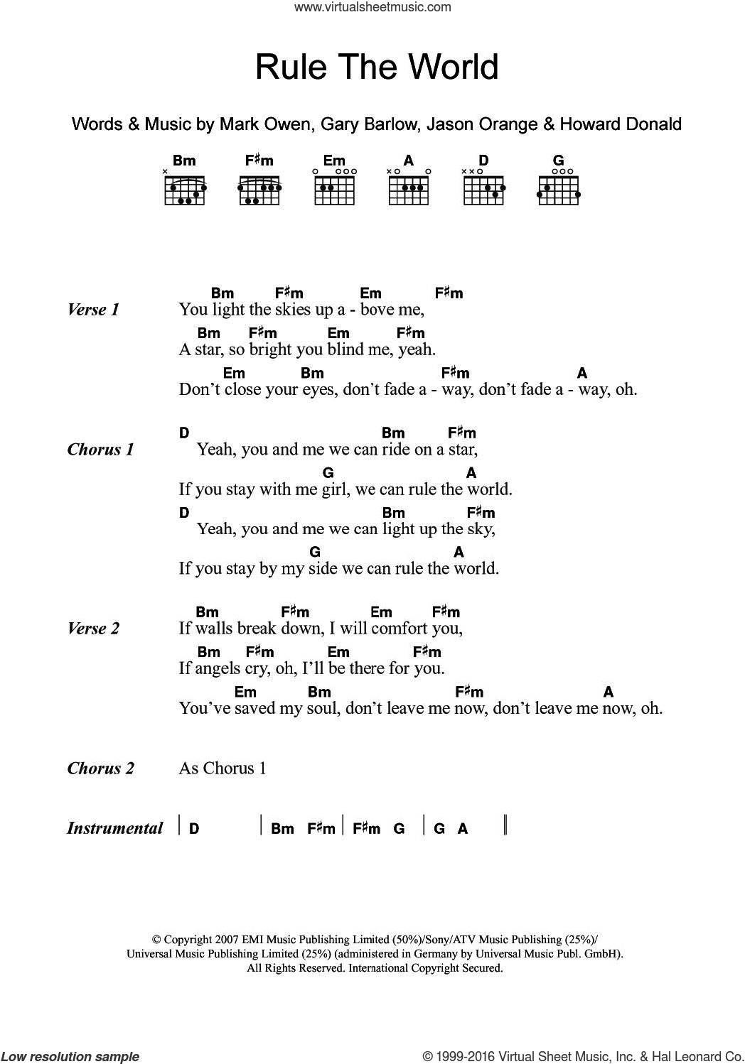Rule The World (from Stardust) sheet music for guitar (chords) by Take That, Gary Barlow and Mark Owen, intermediate guitar (chords). Score Image Preview.