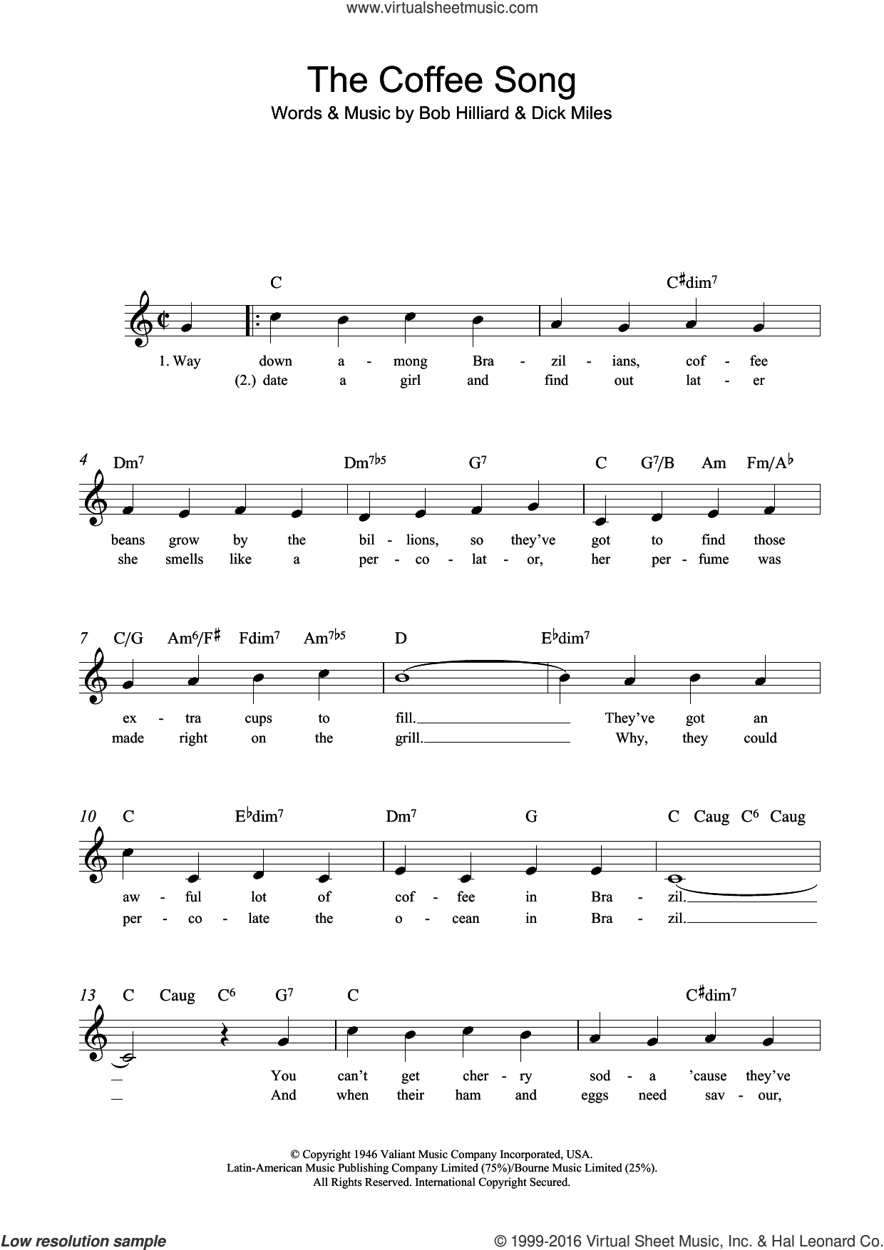 The Coffee Song sheet music for voice and other instruments (fake book) by Dick Miles and Bob Hilliard. Score Image Preview.