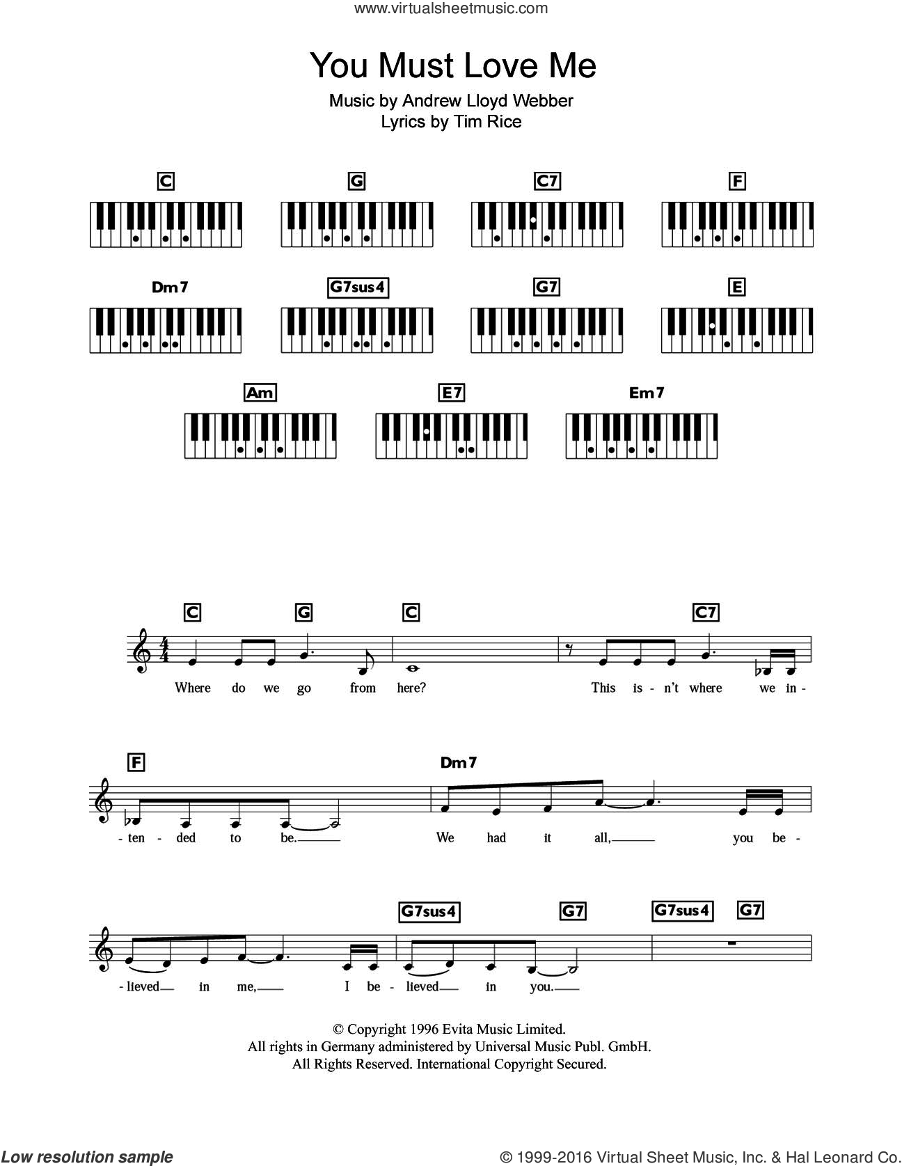 You Must Love Me (from Evita) sheet music for piano solo (chords, lyrics, melody) by Tim Rice, Madonna and Andrew Lloyd Webber. Score Image Preview.
