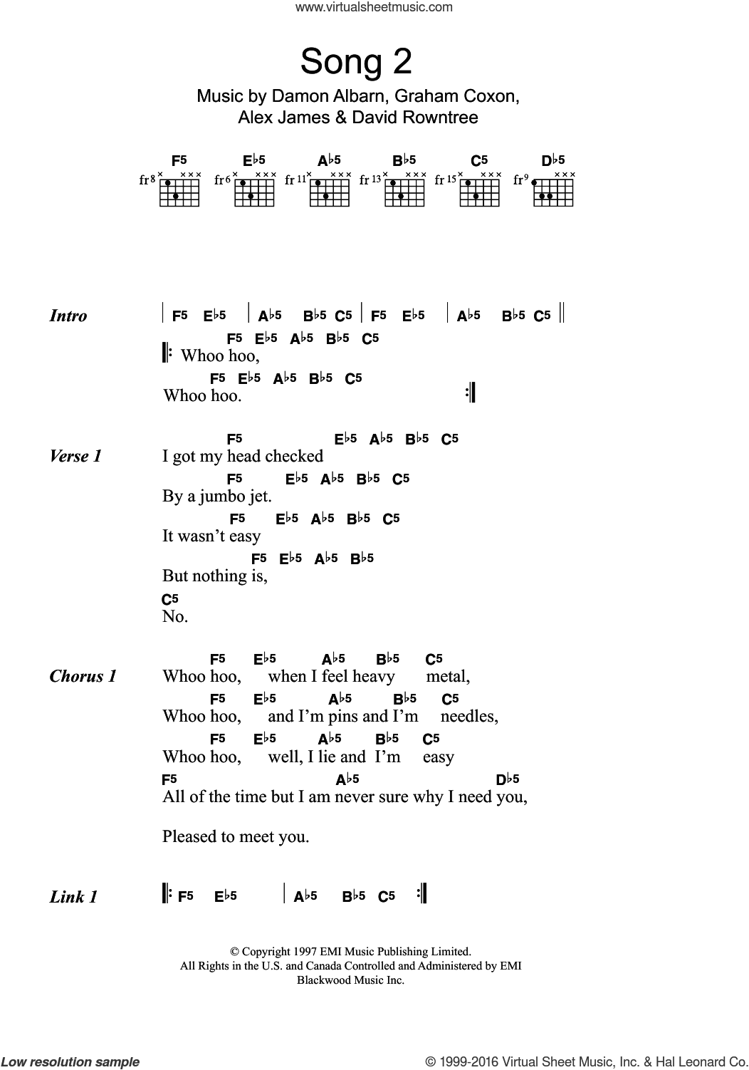 Song 2 sheet music for guitar (chords) by Blur, Alex James and Damon Albarn, intermediate. Score Image Preview.