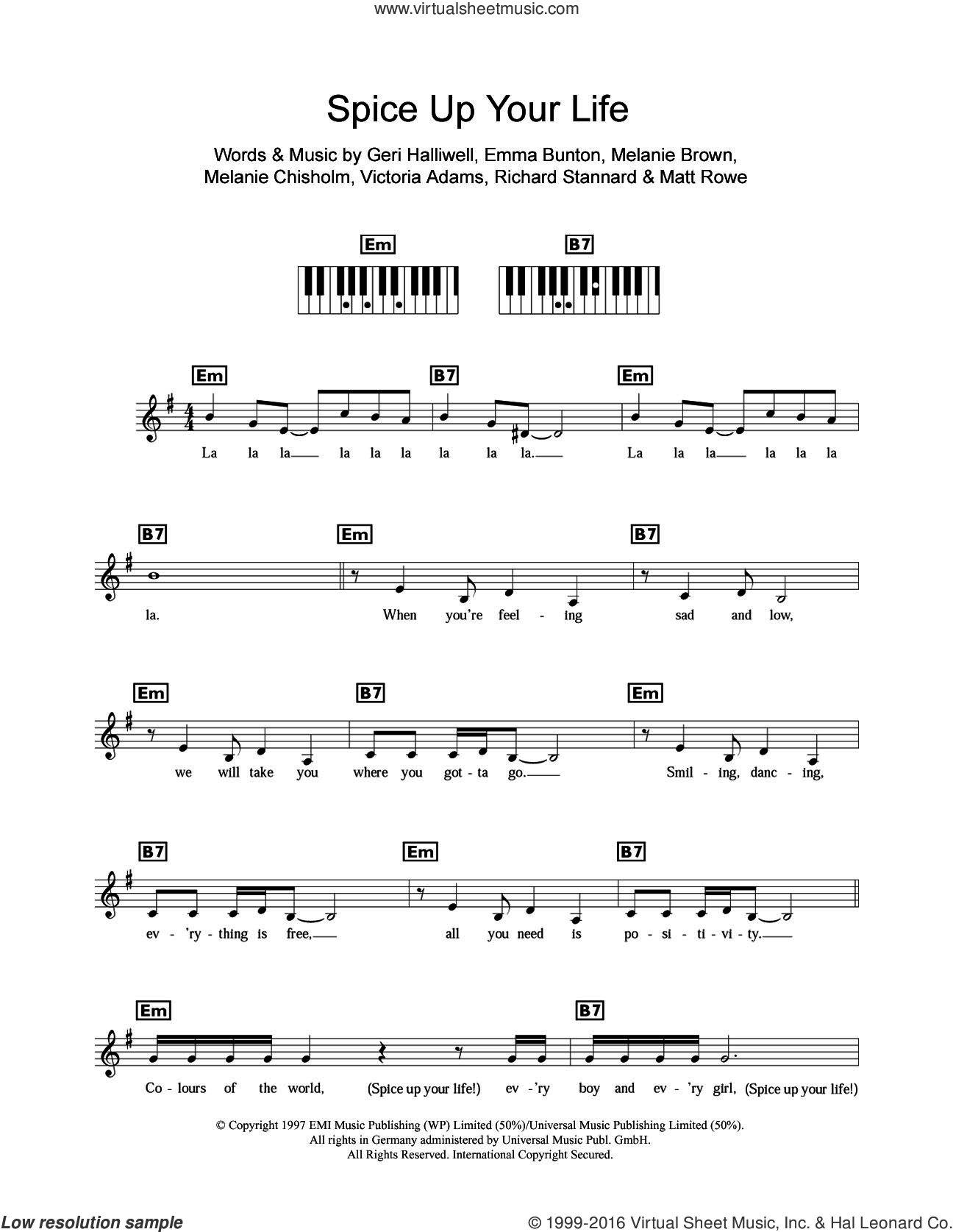 Spice Up Your Life sheet music for piano solo (chords, lyrics, melody) by Spice Girls, Chisholm Melanie, Emma Bunton, Geri Halliwell, Matt Rowe, Melanie Brown, Richard Stannard and Victoria Adams, intermediate piano (chords, lyrics, melody)
